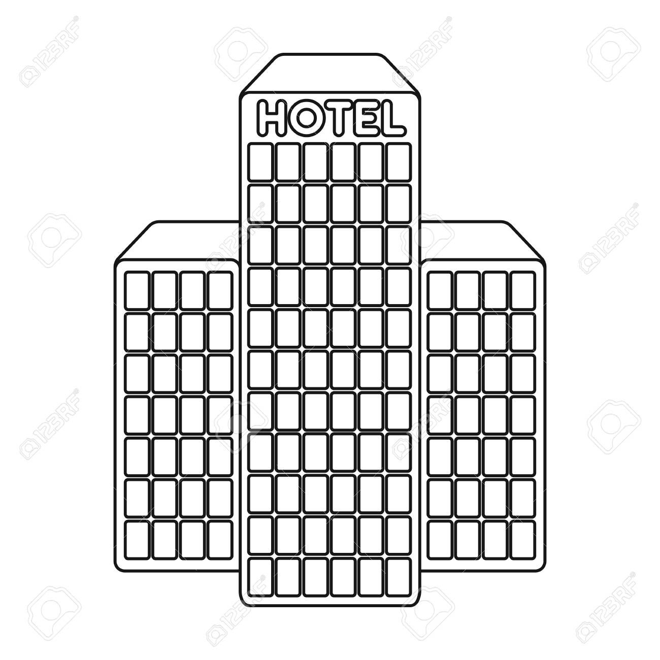 Hotel Building Icon In Outline Style Isolated On White Background Arab Emirates Symbol Vector Illustration