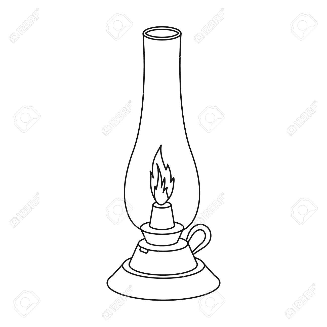 Kerosene Lamp Icon In Outline Style Isolated On White Background ... for Kerosene Lamp Clipart  555kxo