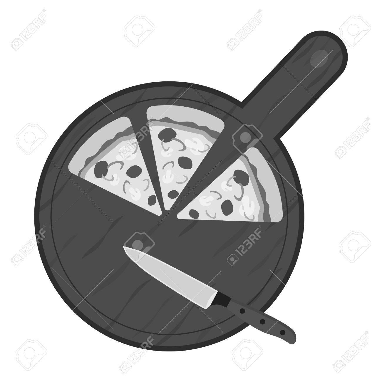 Pizza Auf Schneidebrett Symbol In Schwarz Weiß Stil Auf Weißem