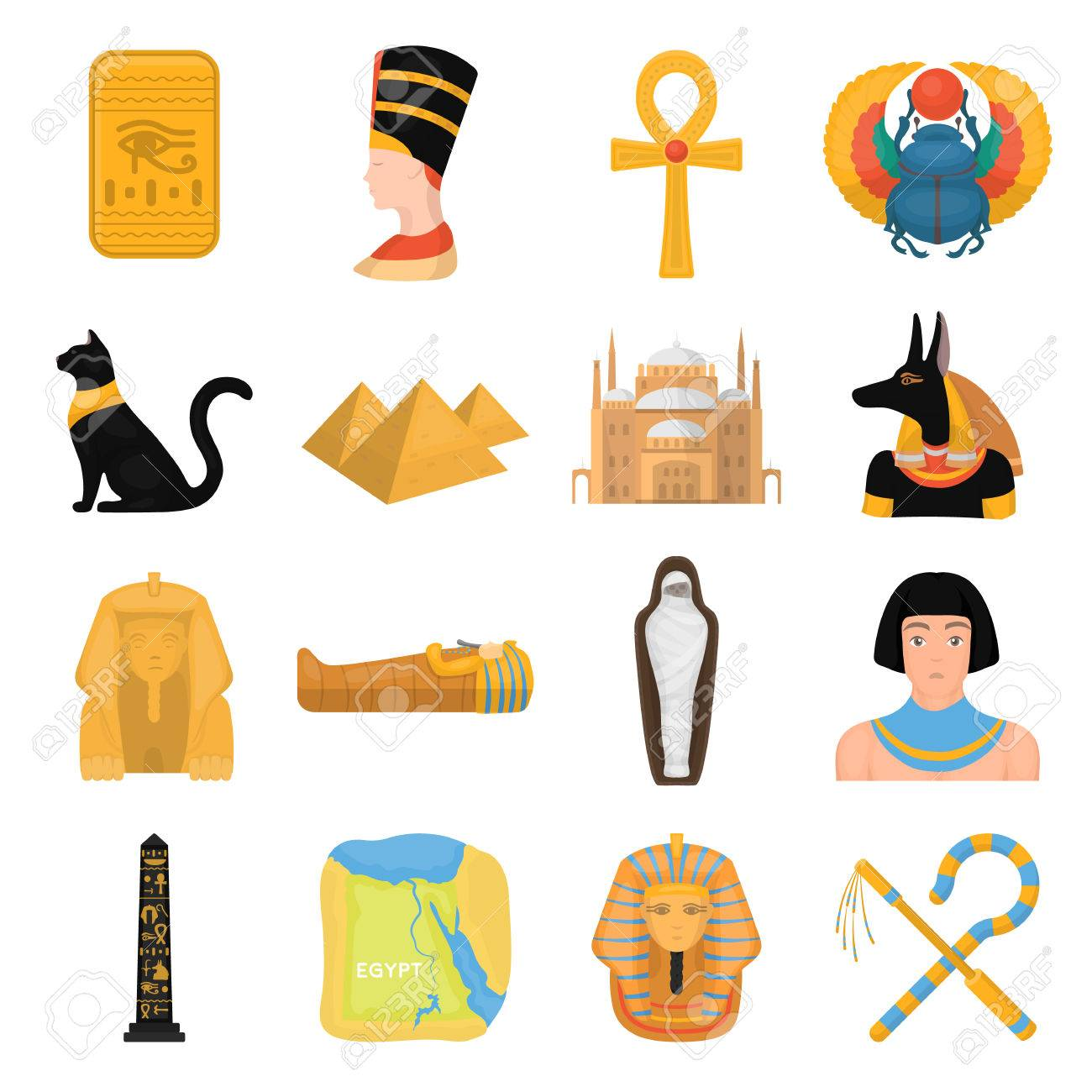 Ancient Egypt set icons in cartoon style. Big collection of ancient Egypt vector symbol stock - 69073295