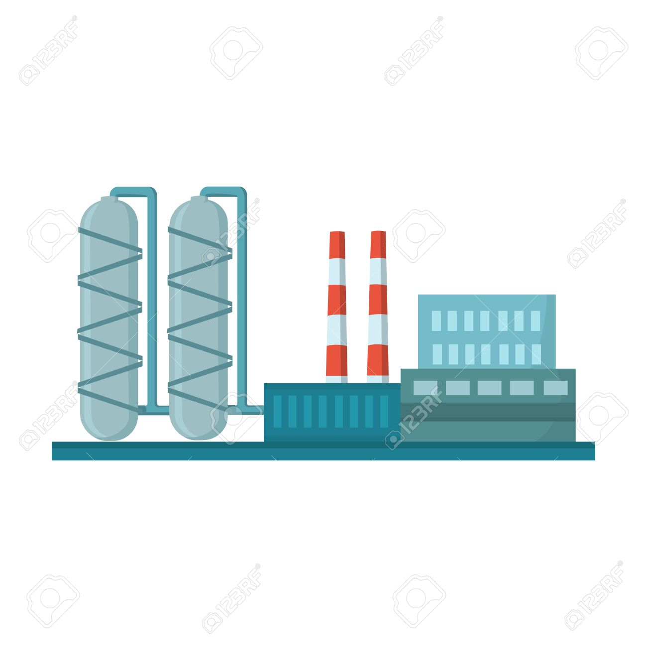 Oil refinery factory icon in cartoon style isolated on white background. Oil industry symbol vector illustration. - 69073362