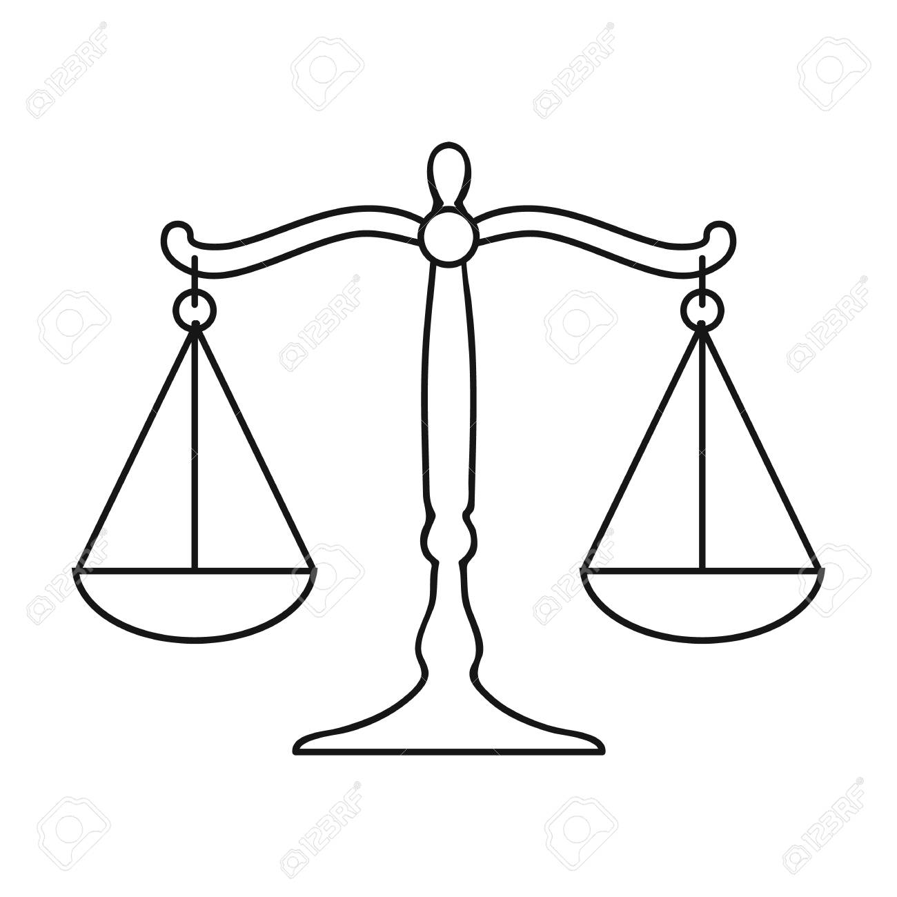 Icona Della Bilancia Della Giustizia In Stile Del Contorno Isolato