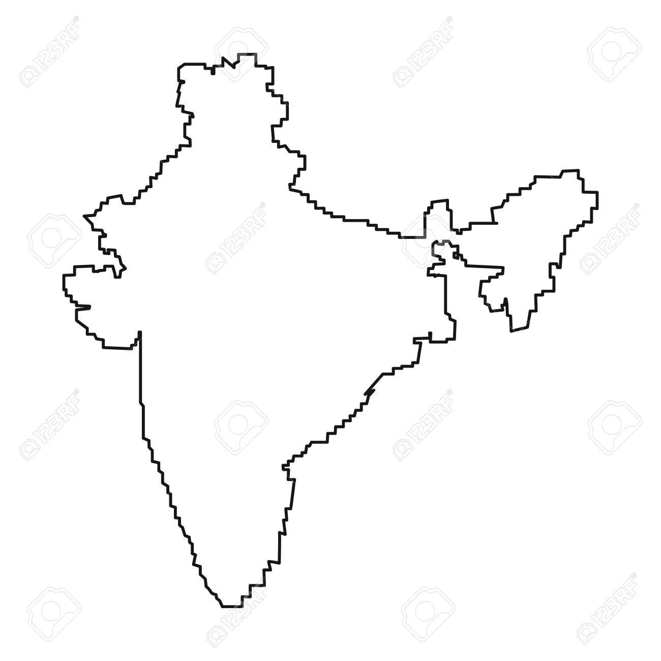 Indisches Territorium Symbol Im Umriss Stil Auf Weißen Hintergrund
