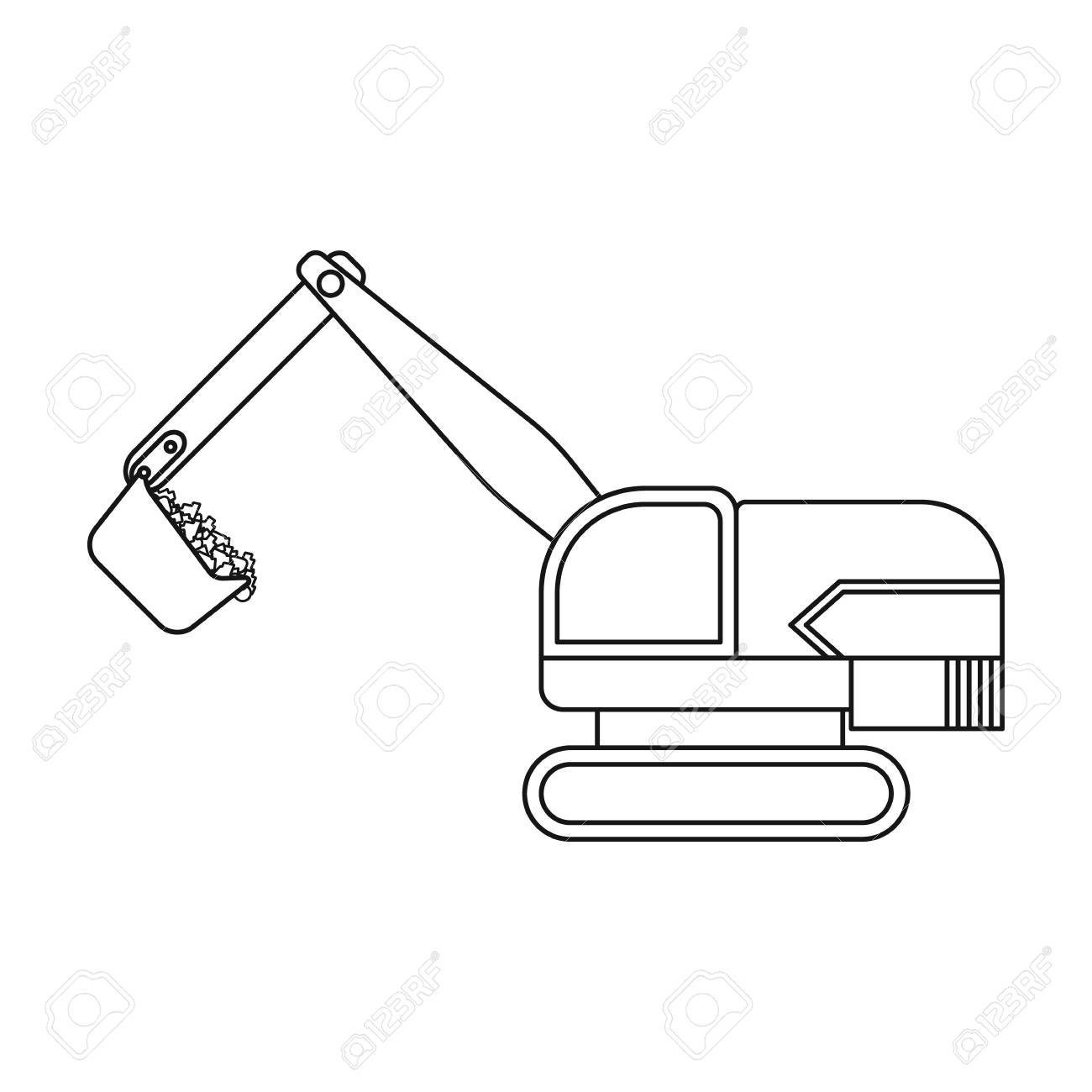 Excavator Icon In Outline Style Isolated On White Background Mine Symbol Vector Illustration Stock