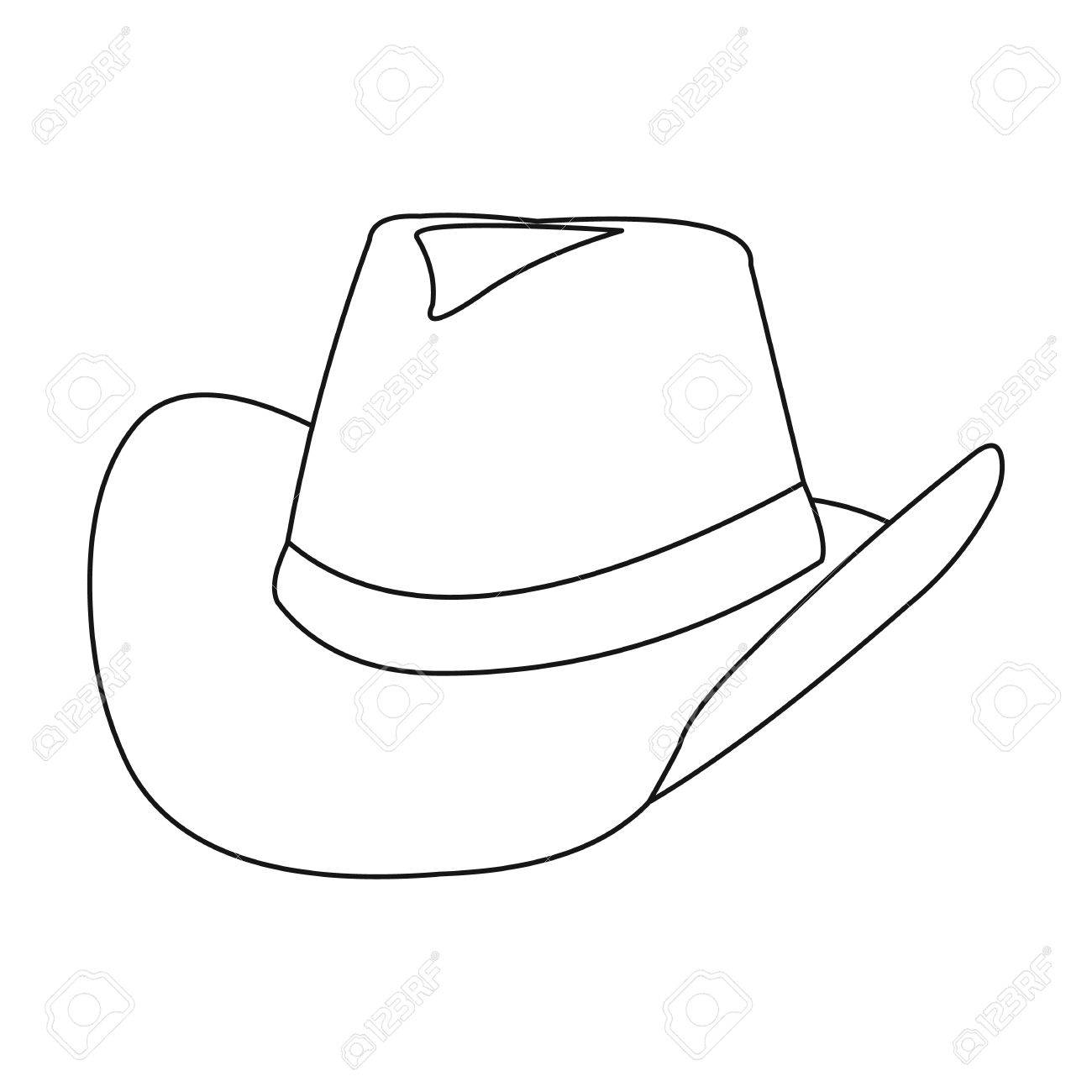 Cowboy hat icon outline. Singe western icon from the wild west outline.  Stock Vector 53a0ec75d5f0