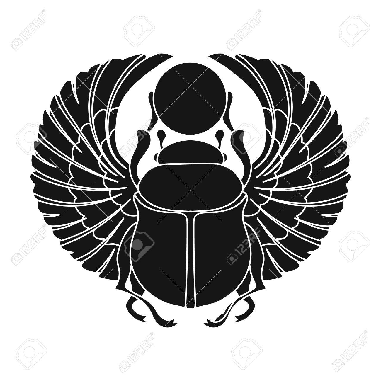 Scarab icon in black style isolated on white background. Ancient Egypt symbol vector illustration. - 69245092