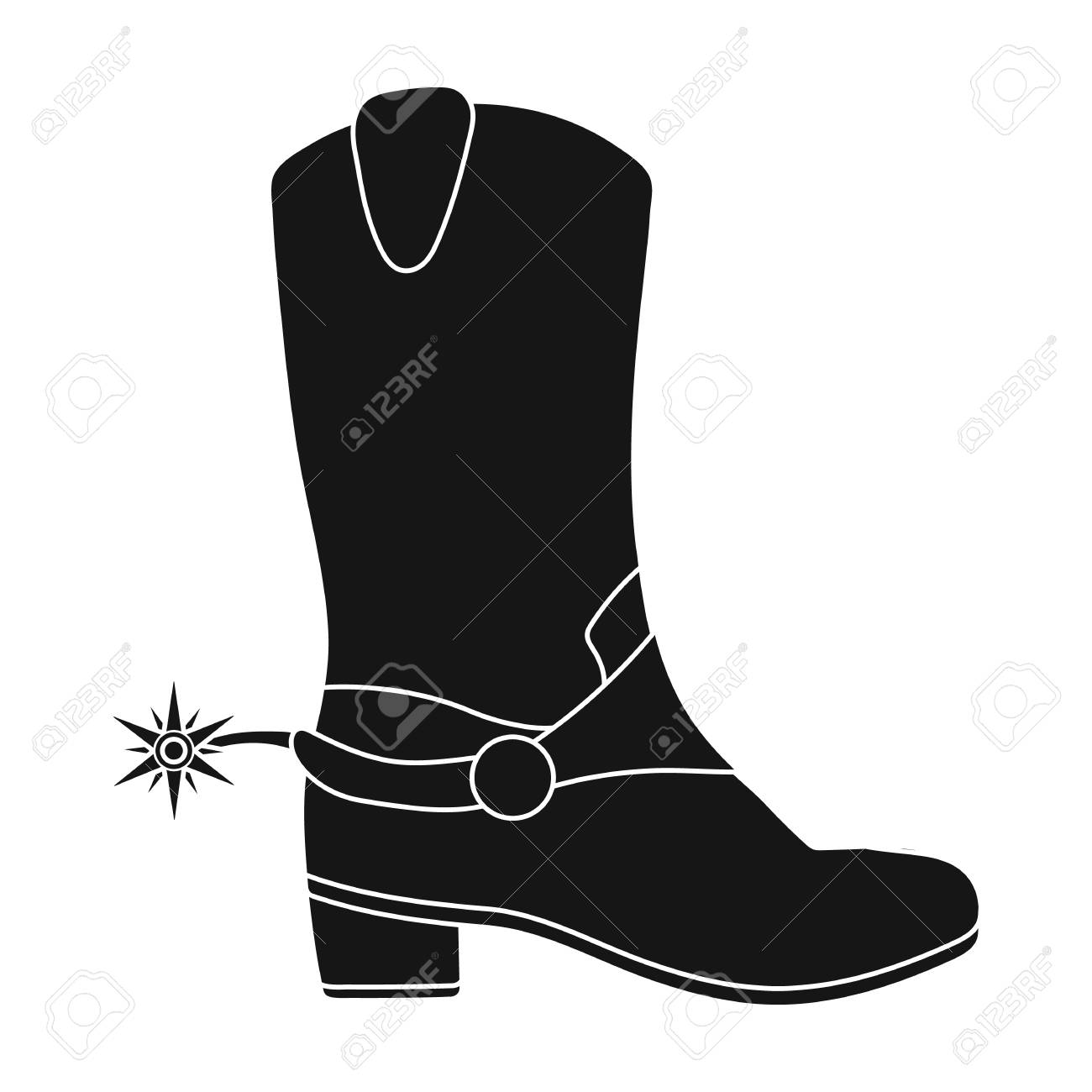 Icono de botas de vaquero en estilo negro aislado sobre fondo blanco. Ilustración de vector de símbolo de país de Estados Unidos.