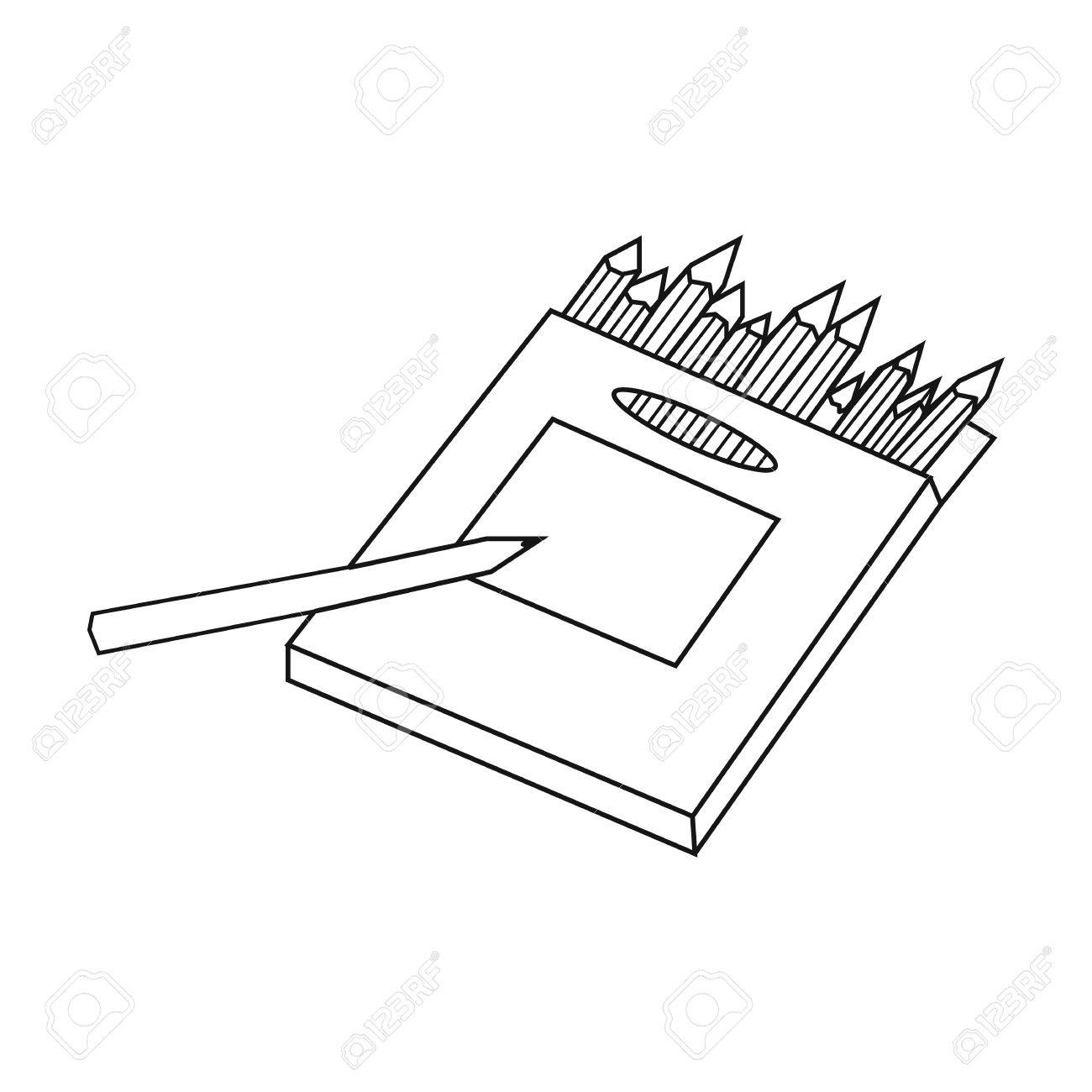 Colored pencils for drawing in box icon in outline style isolated on white background artist