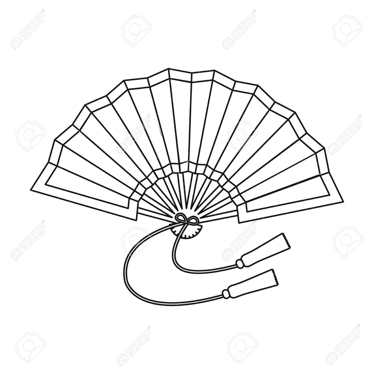 Folding Fan Icon In Outline Style Isolated On White Background