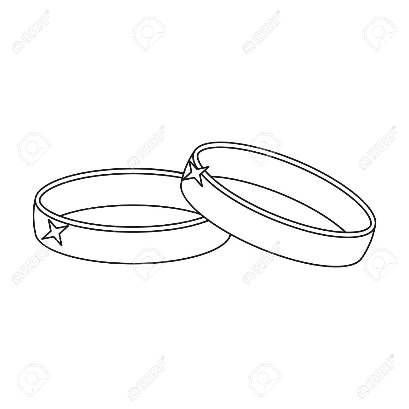 Wedding Rings Icon In Outline Style Isolated On White Background