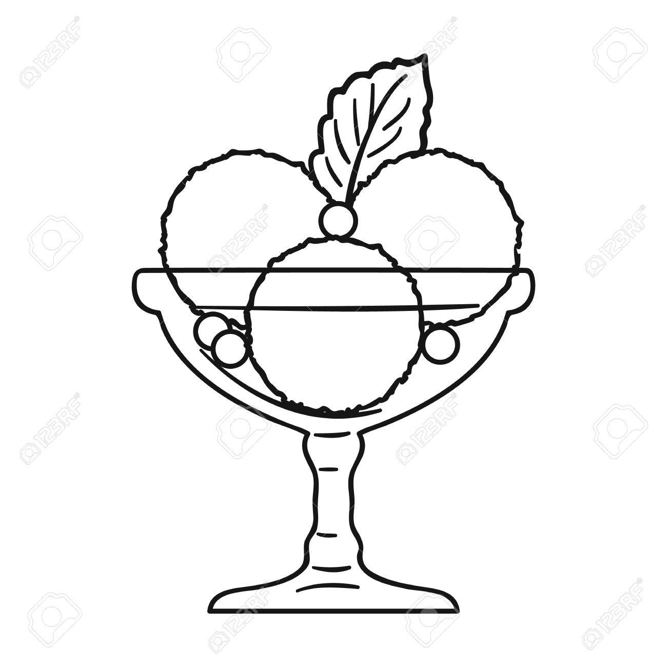 Ice Cream In The Glass Bowl Icon In Outline Style Isolated On ... for Bowl Of Ice Cream Clipart Black And White  53kxo