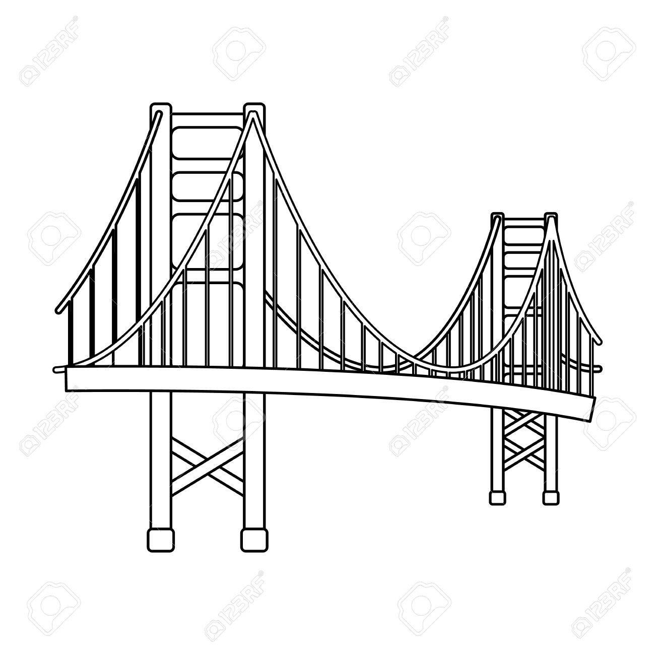 Golden Gate Bridge Symbol Im Umriss Stil Auf Weien Hintergrund Usa Diagram Of The Land