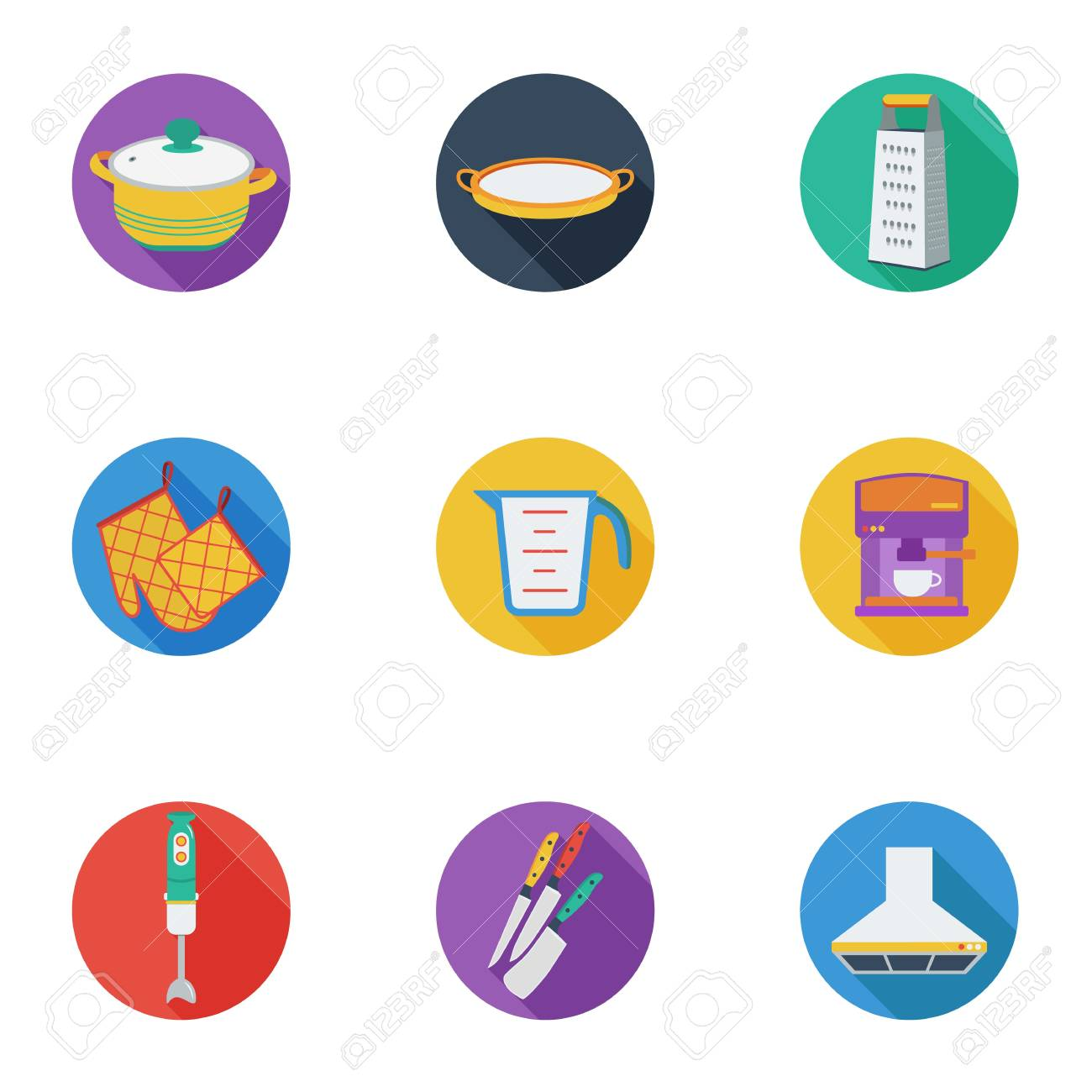 Kitchen Set Icons In Cartoon Style Big Collection Of Kitchen