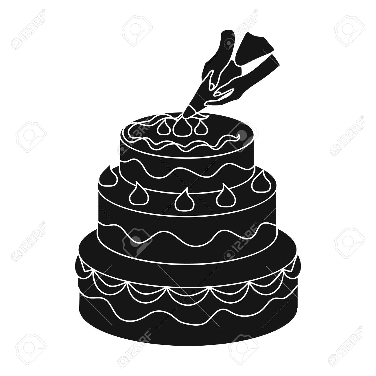 Decorating Of Birthday Cake Icon In Black Style Isolated On White