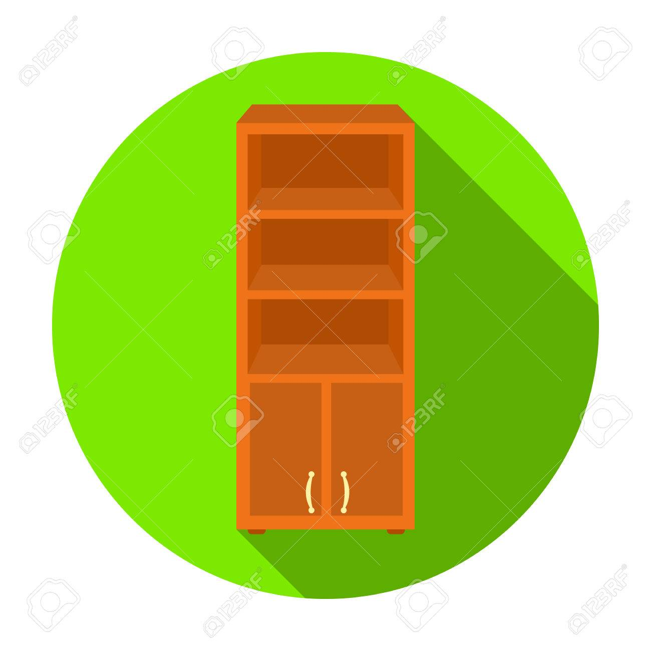 Office Bookcase Icon In Flat Style Isolated On White Background Furniture And Interior Symbol