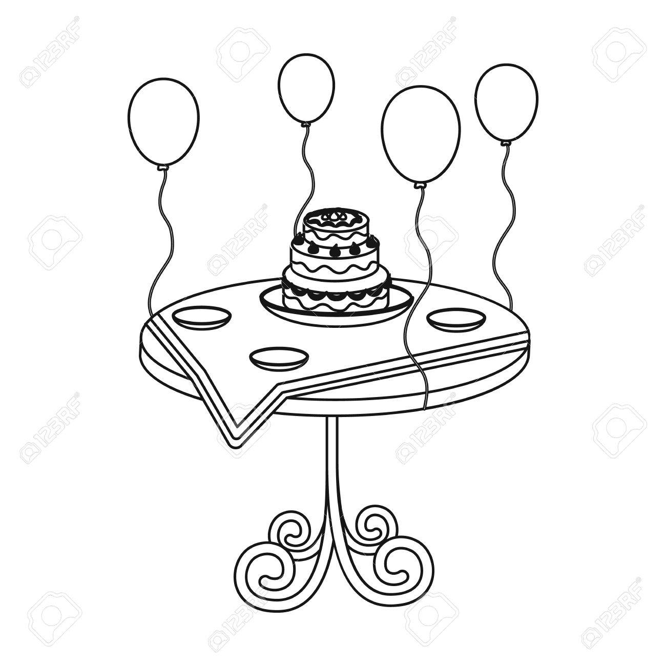 Birthday Cake On The Table Icon In Outline Style Isolated On
