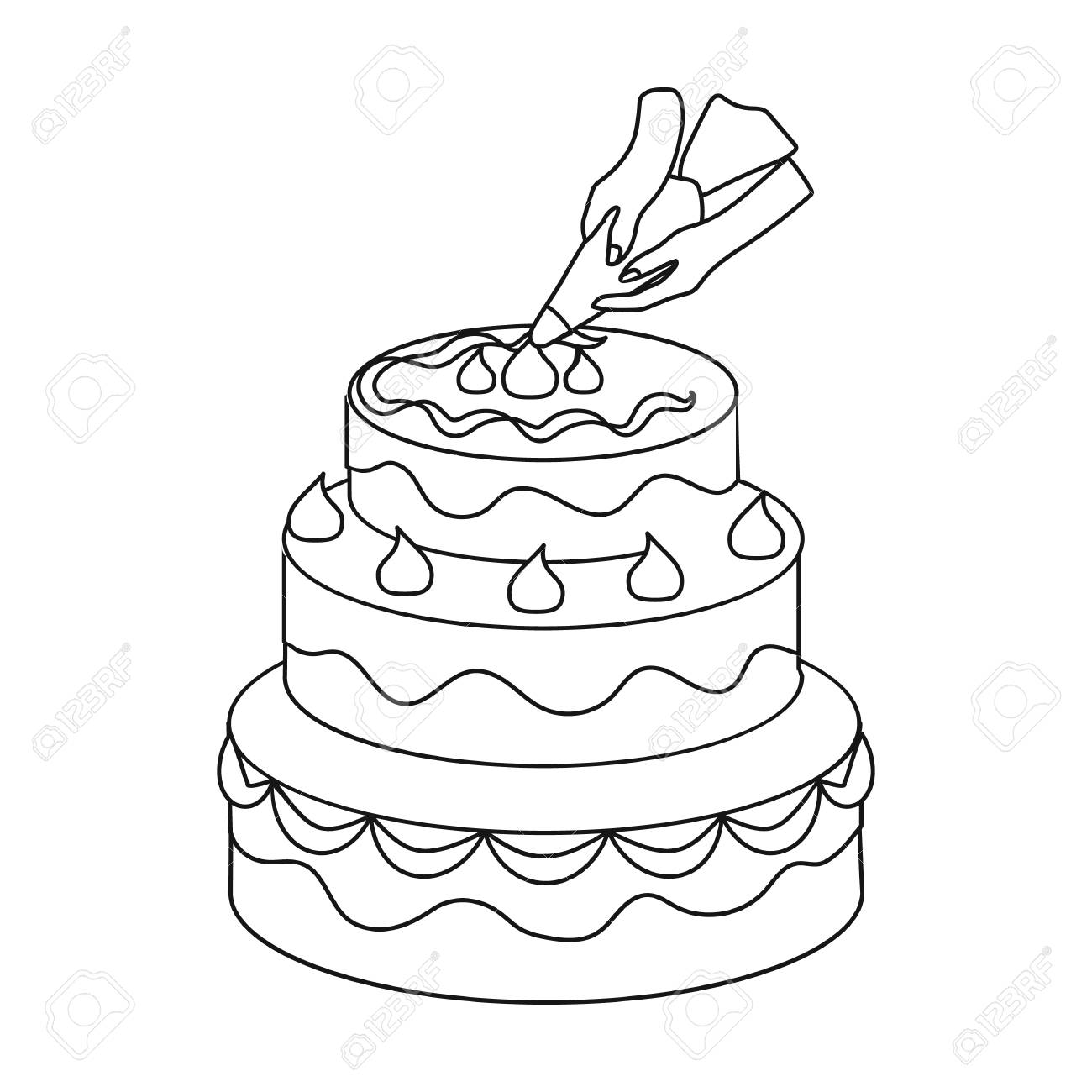 Decorating Of Birthday Cake Icon In Outline Style Isolated On