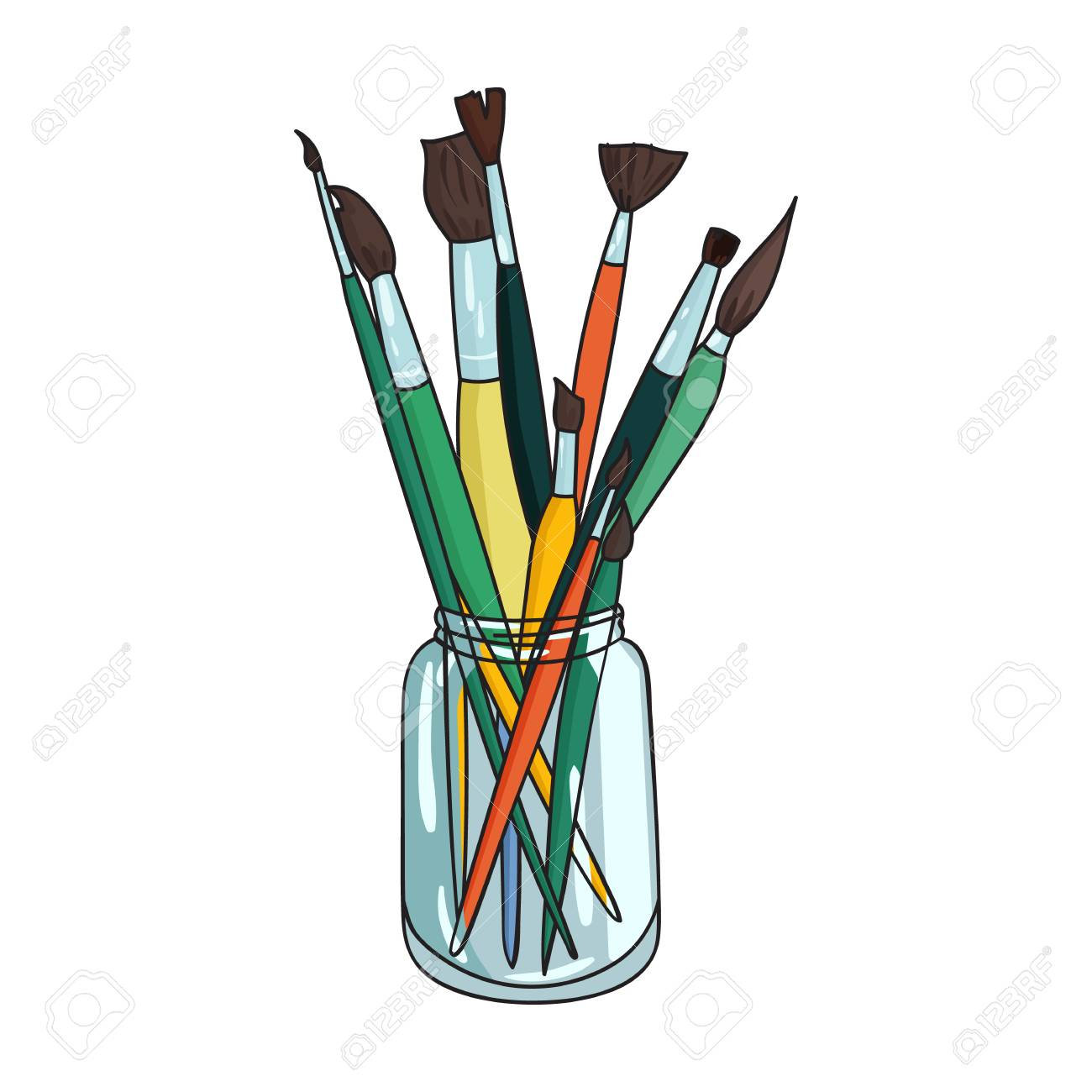 paintbrushes for painting in the jar icon in cartoon style isolated rh 123rf com cartoon paint brush black cartoon paint brush photoshop