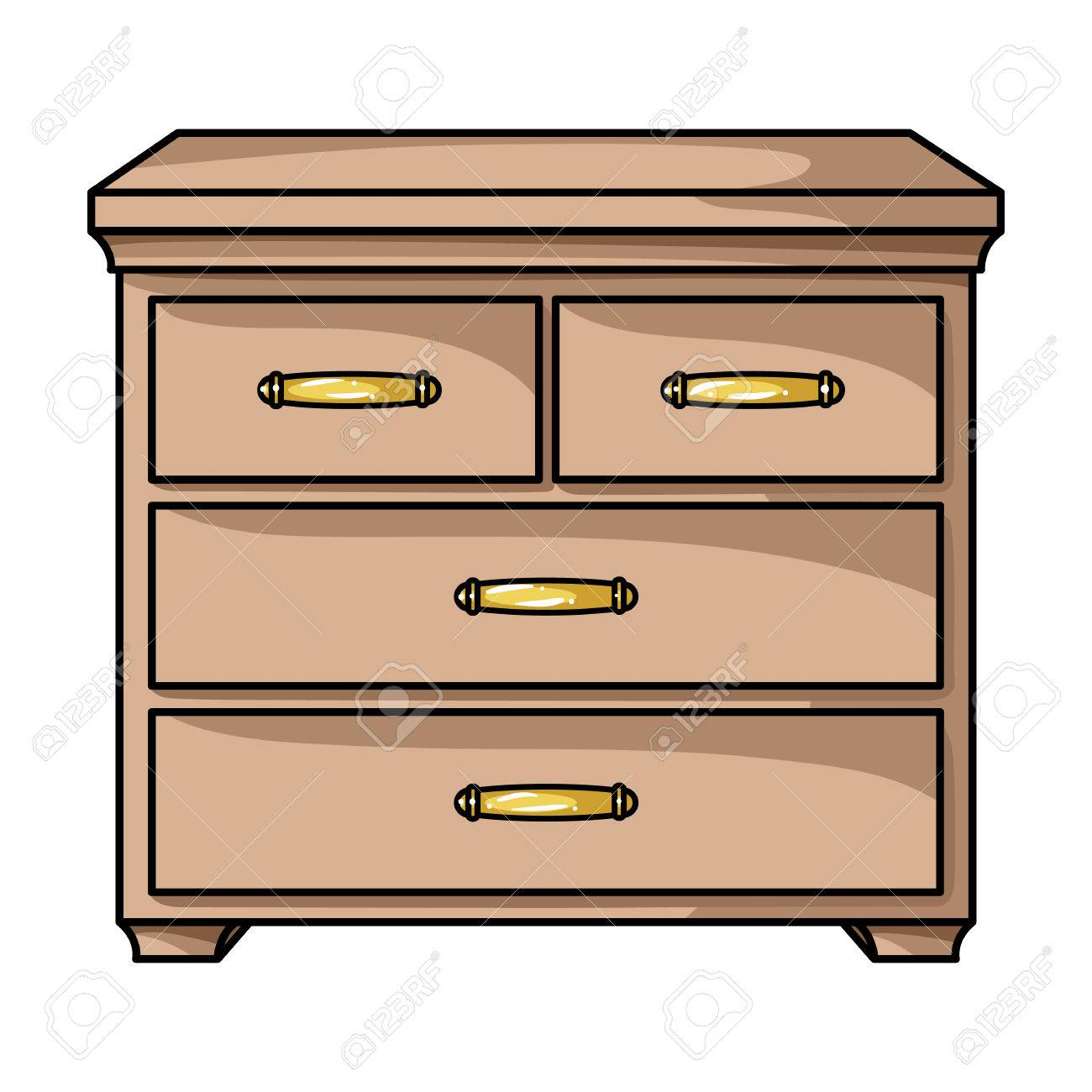 Vector - Wooden cabinet with drawers icon in cartoon style isolated on white background. Furniture and home interior symbol vector illustration.  sc 1 st  123RF.com & Wooden Cabinet With Drawers Icon In Cartoon Style Isolated On ...