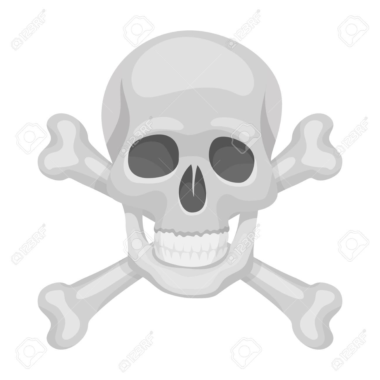 Immagini Di Teschio Pirati icona del teschio e ossa incrociate del pirata nello stile del fumetto  isolato su priorità bassa bianca. illustrazione di vettore di simbolo dei
