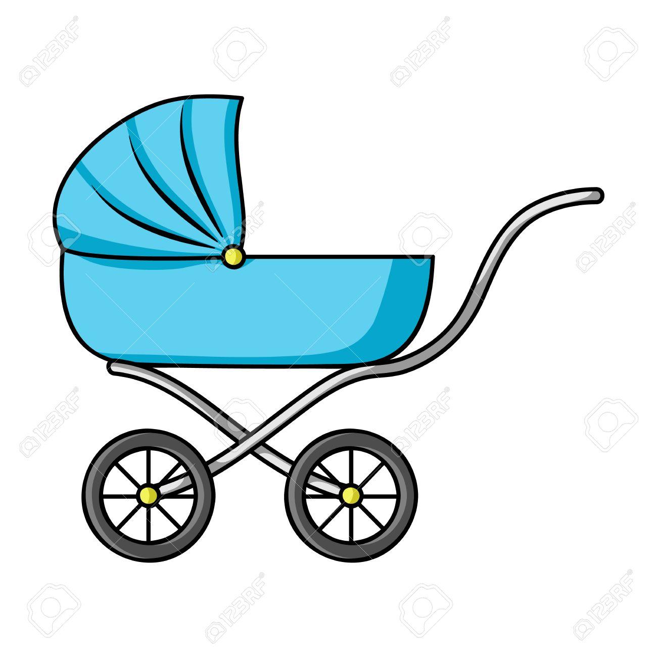 Icono del cochecito de niño en estilo de dibujos animados aislado en el fondo blanco. ilustración nacido simbolo bebé.