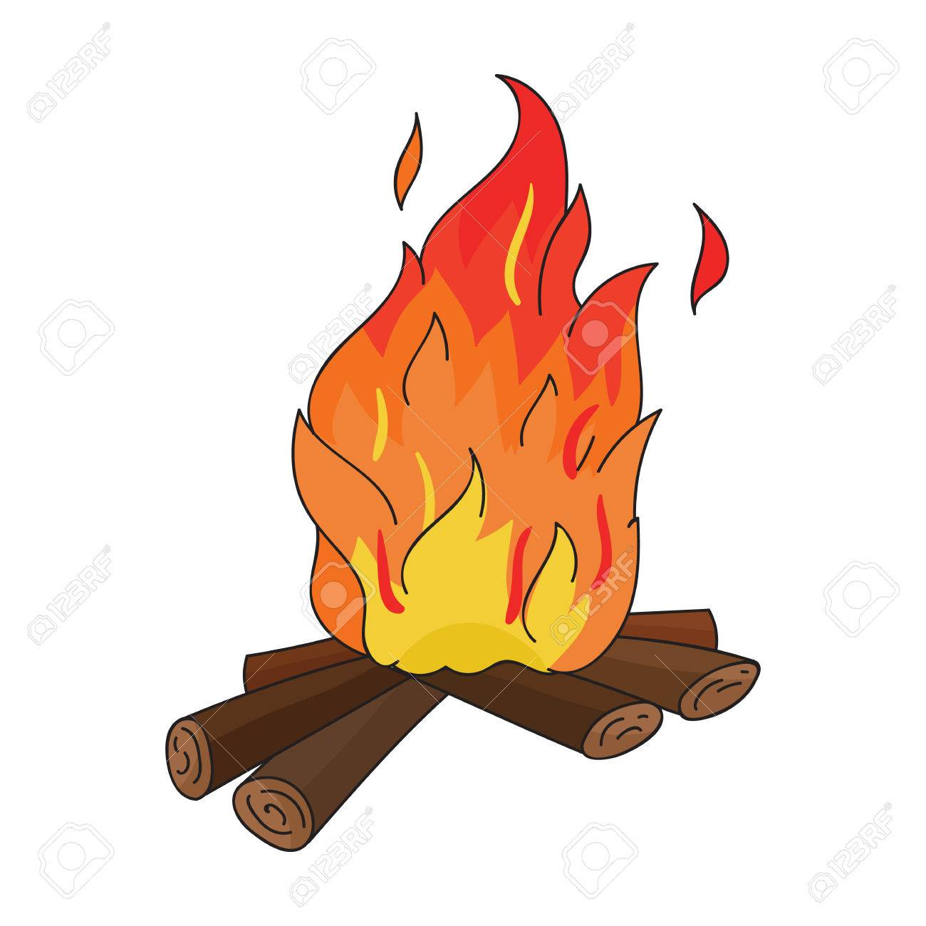 campfire of stone age icon in cartoon style isolated on white rh 123rf com campfire cartoon images campfire cartoon images