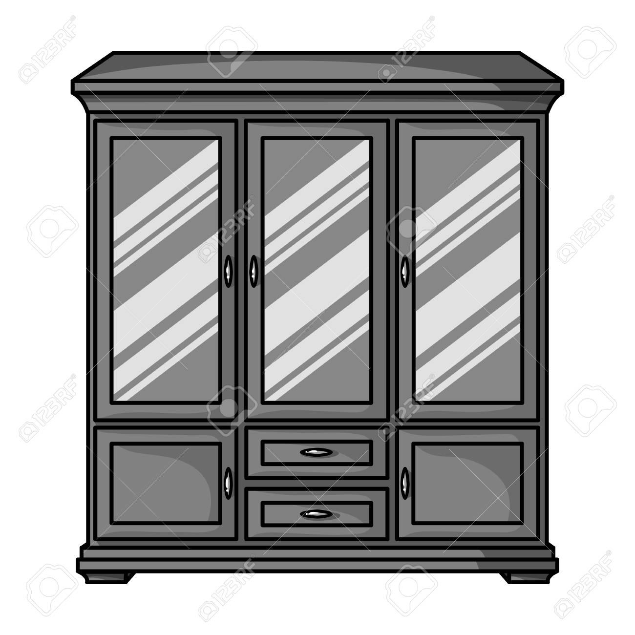 Klassische Schrank Symbol In Schwarz Weiss Stil Auf Weissem