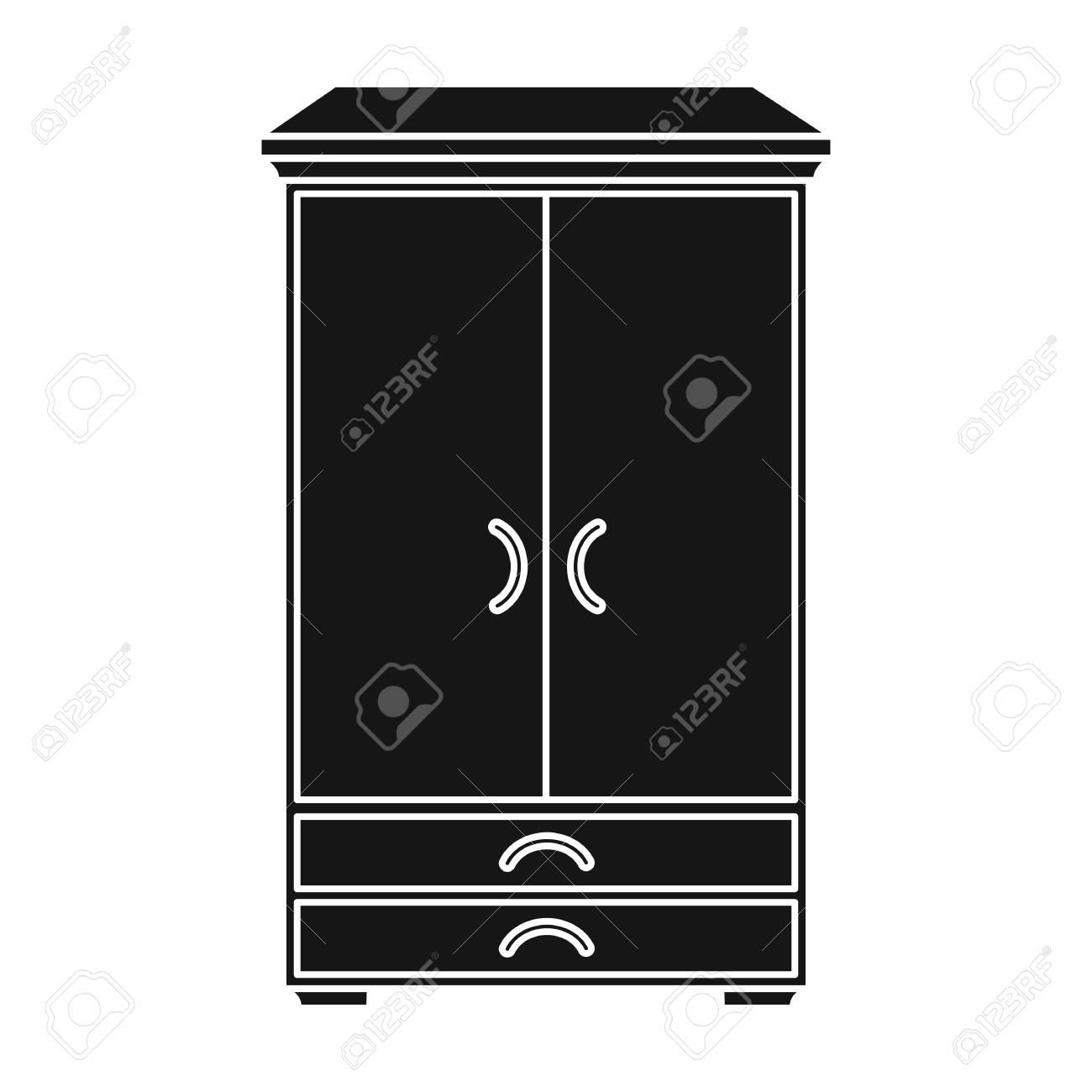 Icono De Estilo Armario En Negro Sobre Fondo Blanco. Los Muebles Y ...