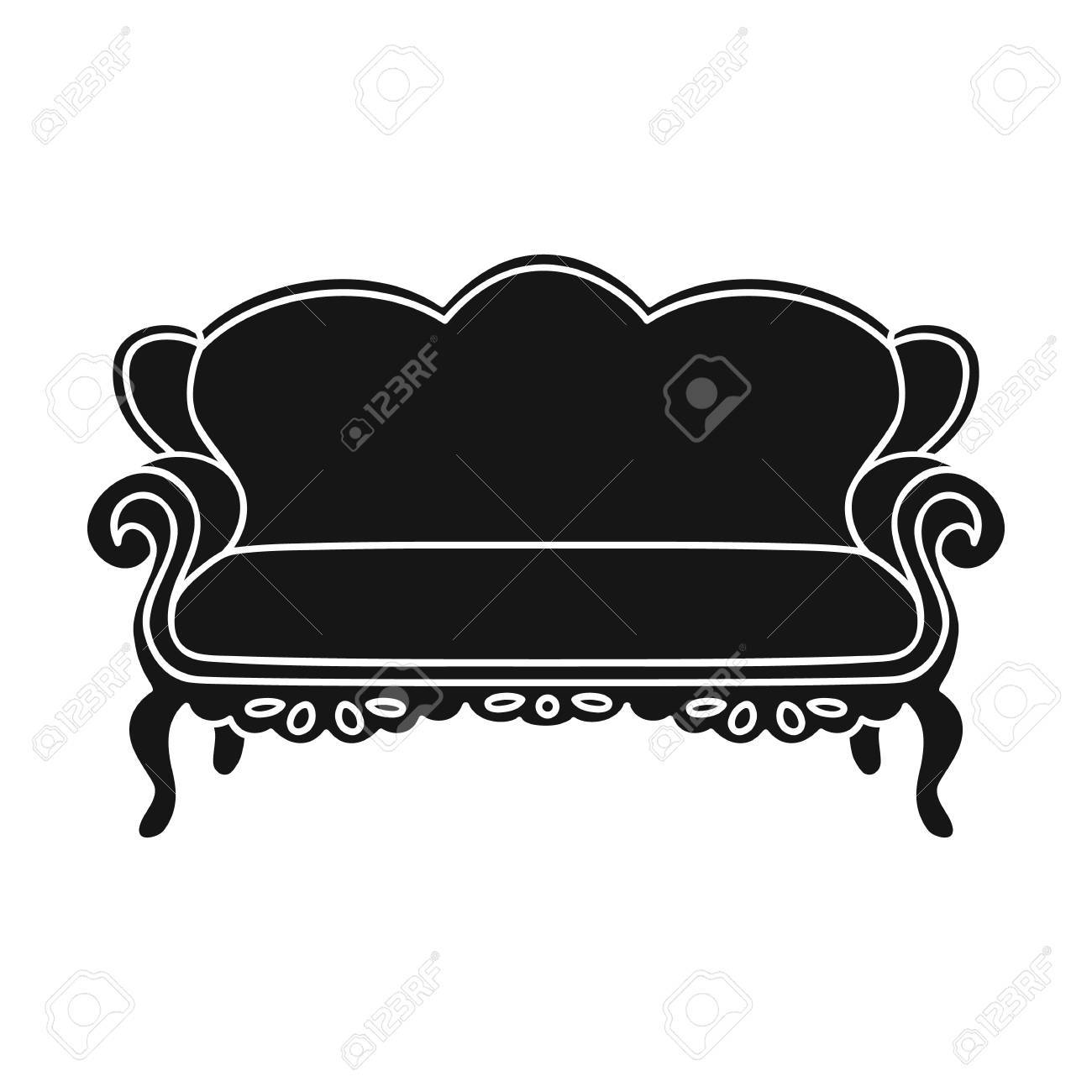 Vintage Sofa Icon In Black Style Isolated On White Background