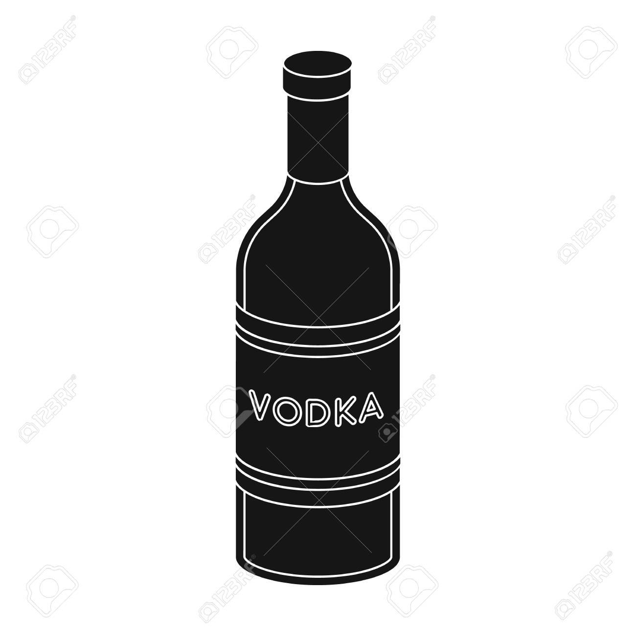 bouteille en verre de vodka icône design noir isolé sur fond blanc. russe  symbole boursier pays illustration vectorielle.