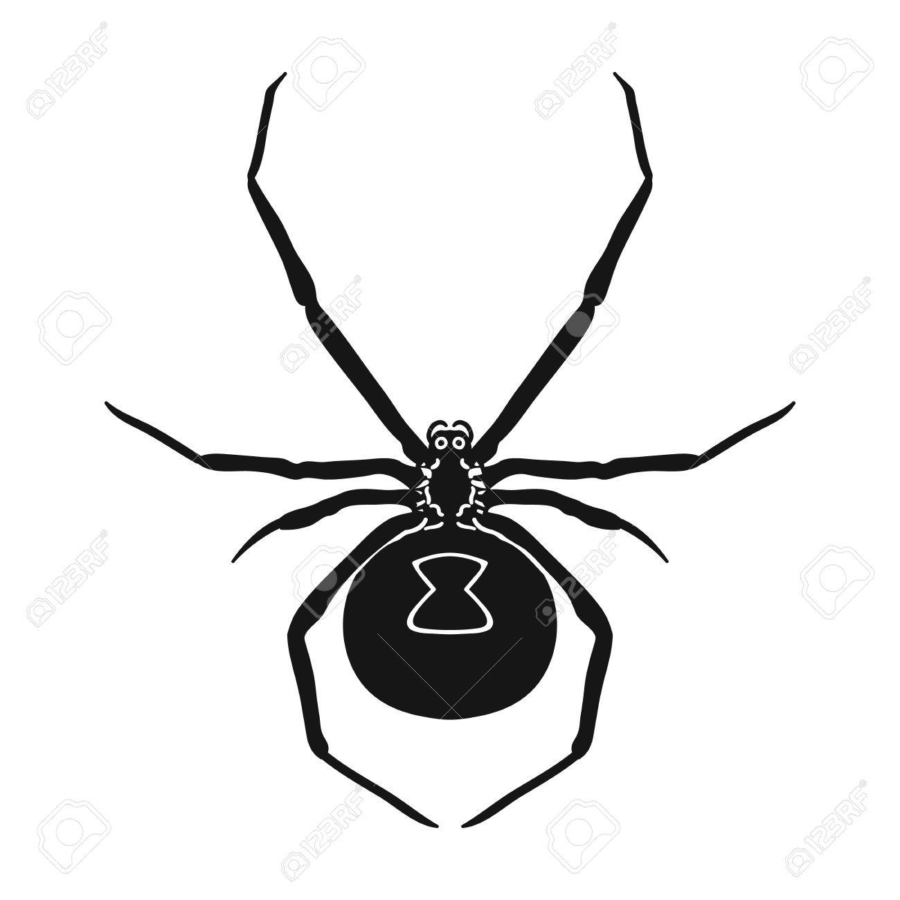 Black Widow Spider Icon In Black Design Isolated On White Background