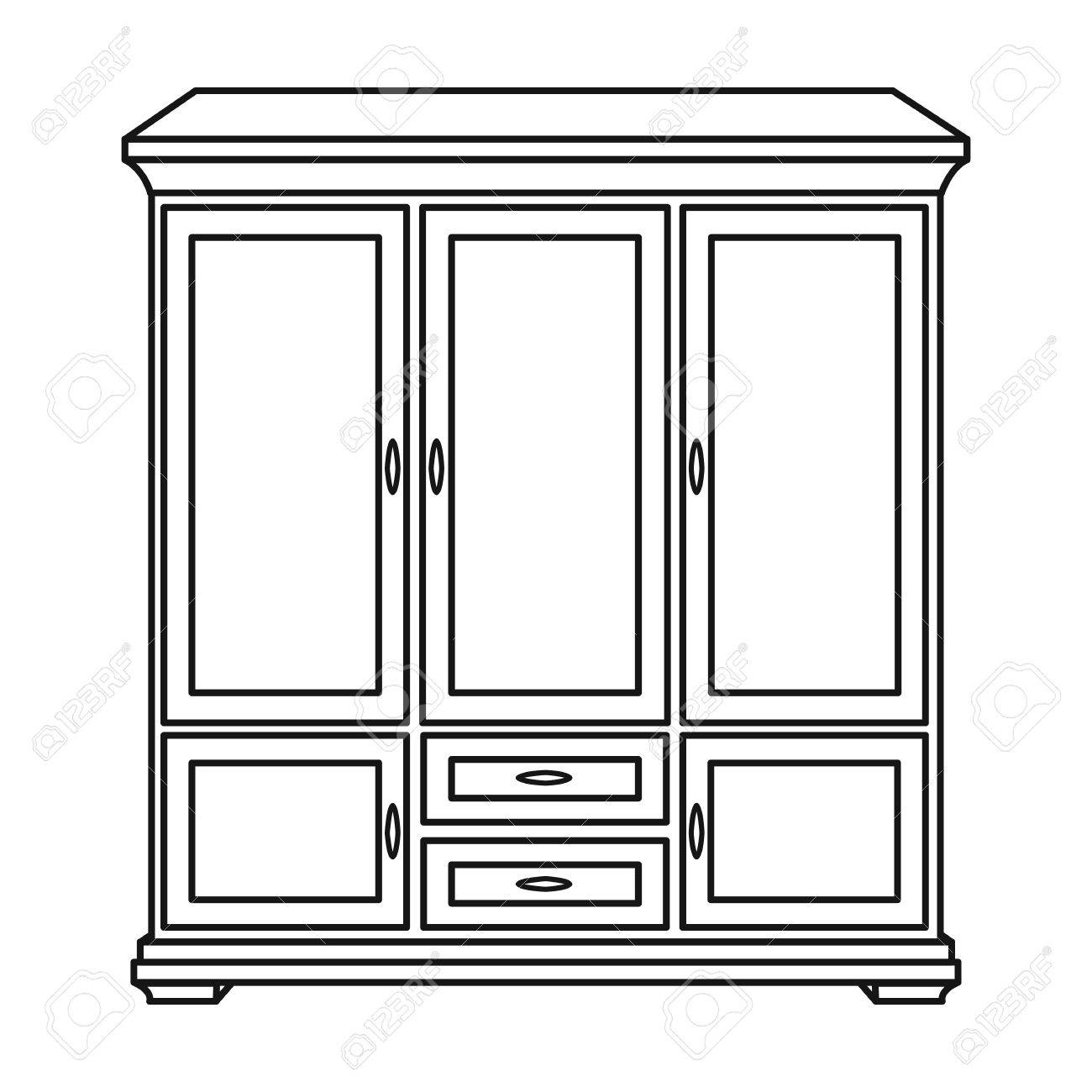 Wardrobe clipart black and white  Classical Cupboard Icon In Outline Style Isolated On White ...