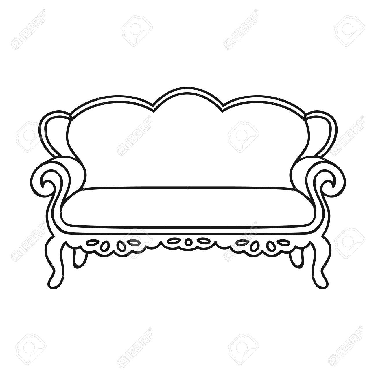 Vintage Sofa Icon In Outline Style Isolated On White Background Royalty Free Cliparts Vectors And Stock Illustration Image 67722447
