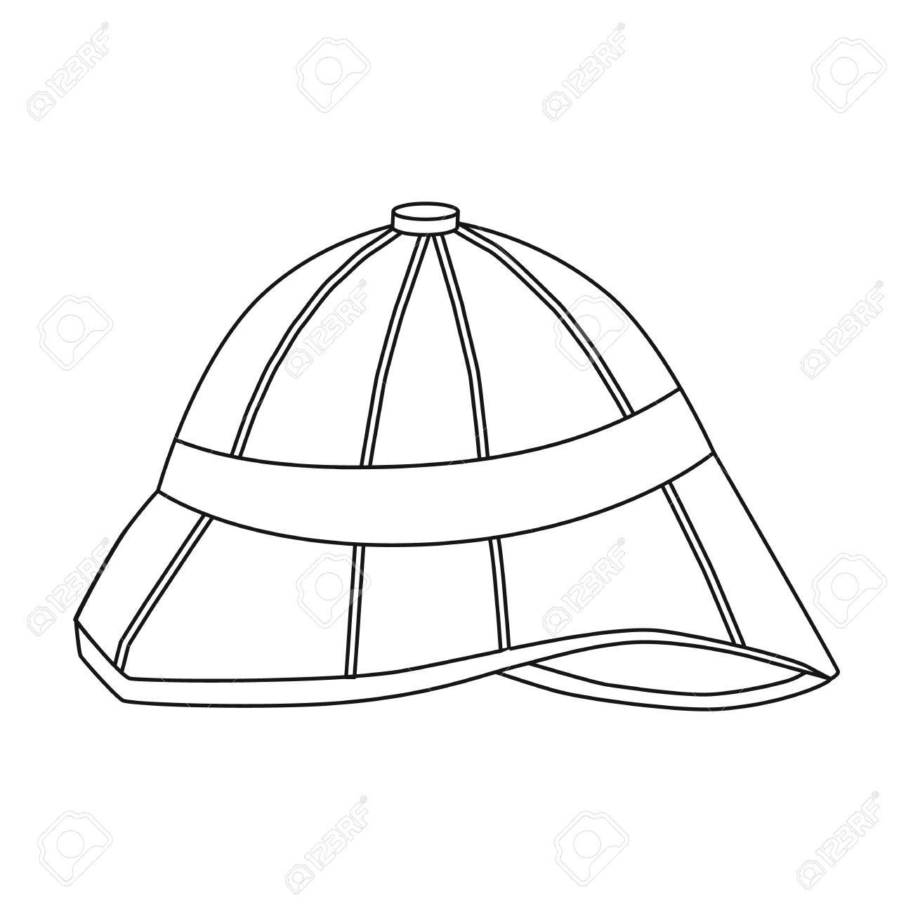 Pith helmet icon in outline style isolated on white background