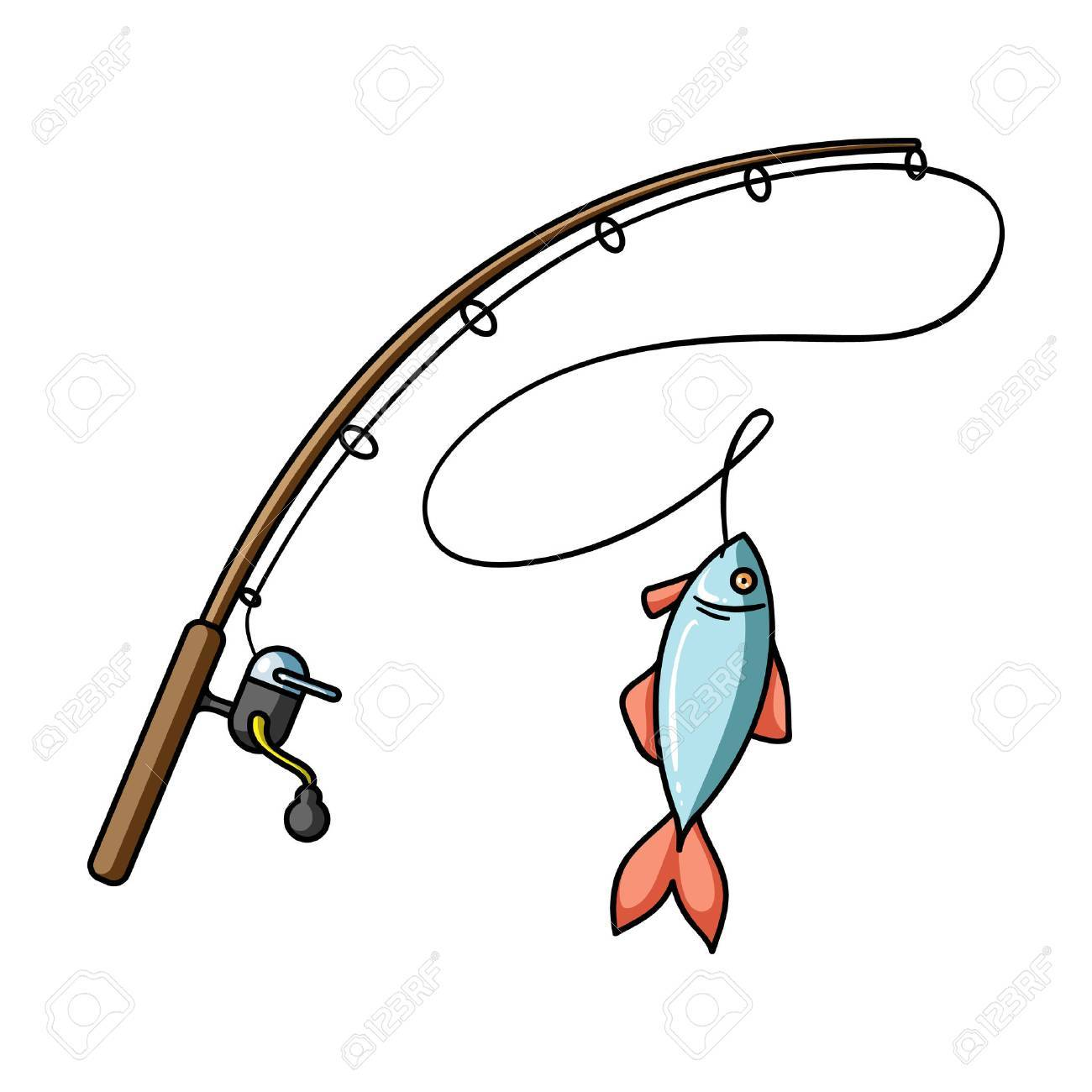 Fishing rod and fish icon in cartoon style isolated on white background. Fishing symbol stock vector illustration. - 68574475