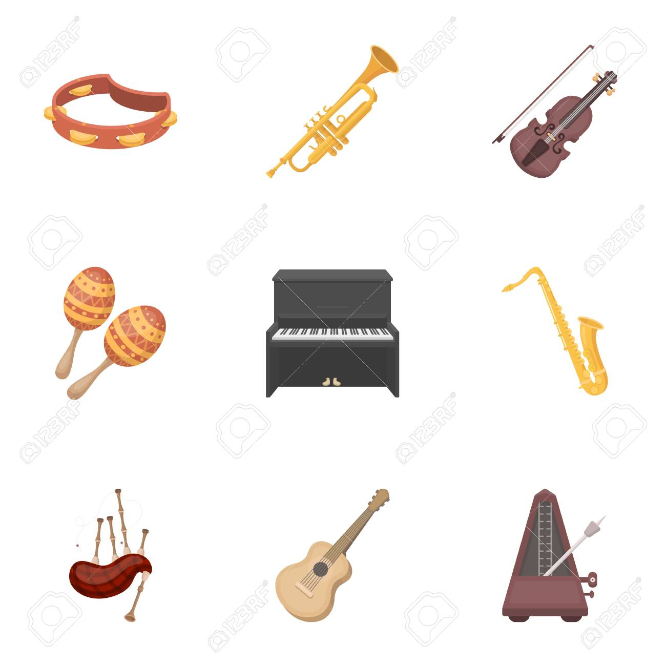 Musical Instruments Set Icons In Cartoon Style Big Collection Of