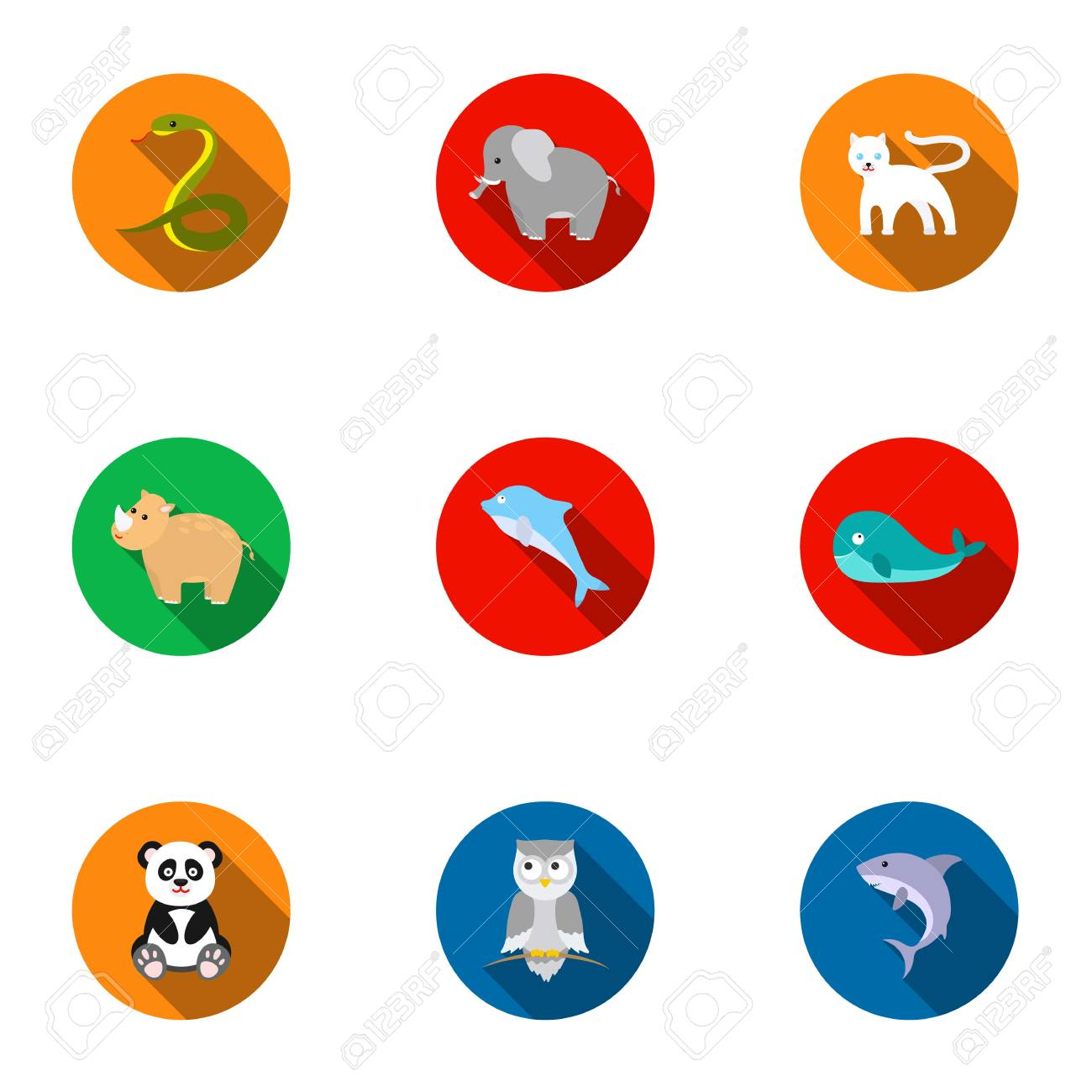 Animals Set Icons In Flat Style Big Collection Of Animals Vector