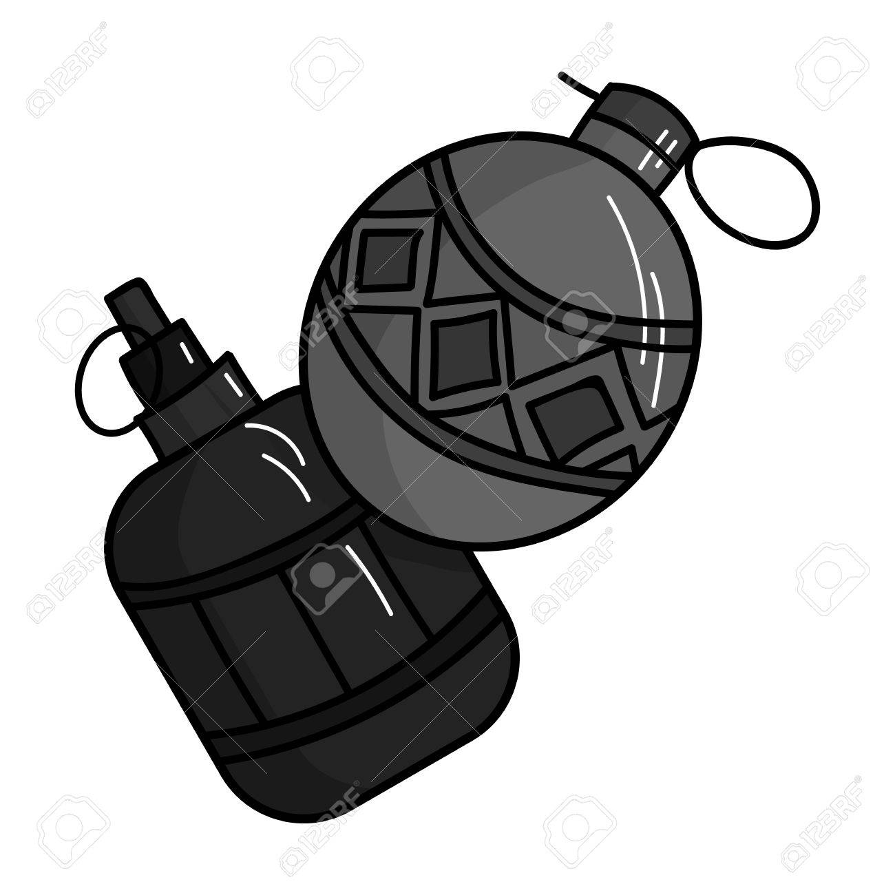 paintball hand grenade icon in outline style isolated on white rh 123rf com Clip Art with Transparent Background Grenade Vector