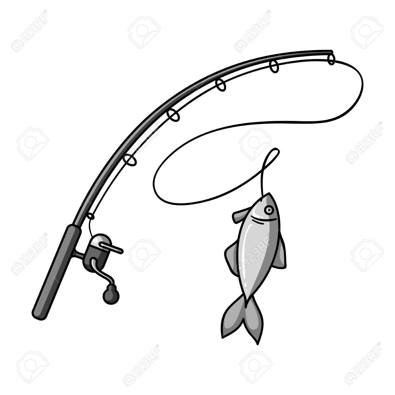 Caña De Pescar Y Peces Icono De Estilo En Blanco Y Negro Aislado En