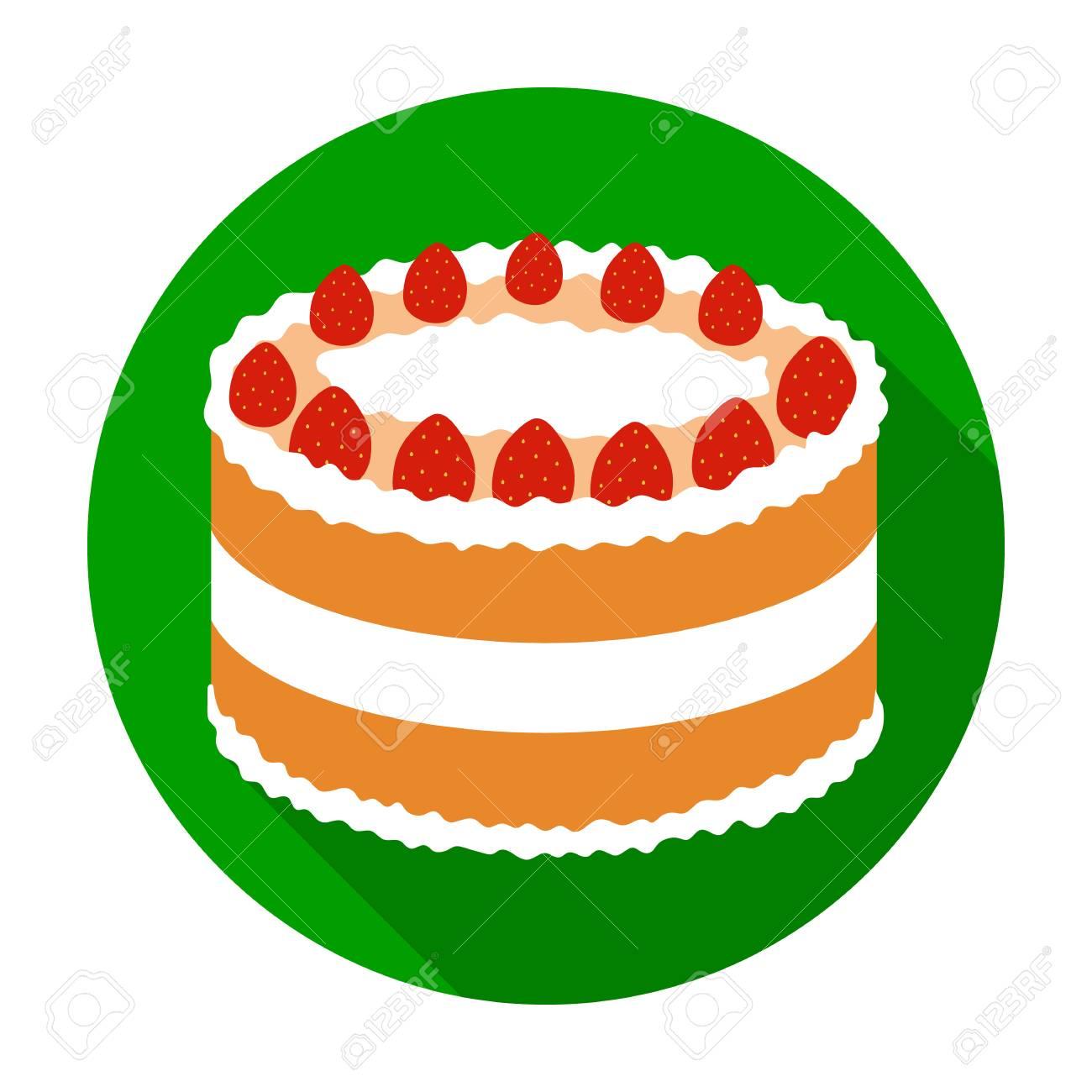 Strawberry Cake Icon In Flat Style Isolated On White Background