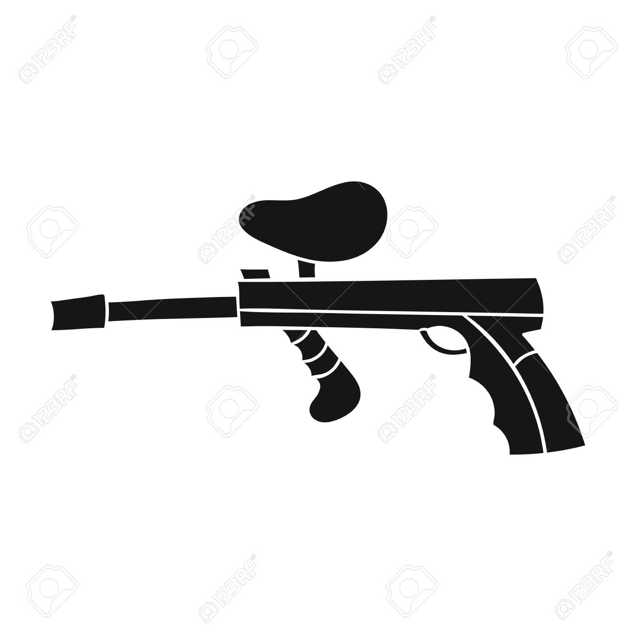 paintball gun icon in black style isolated on white background