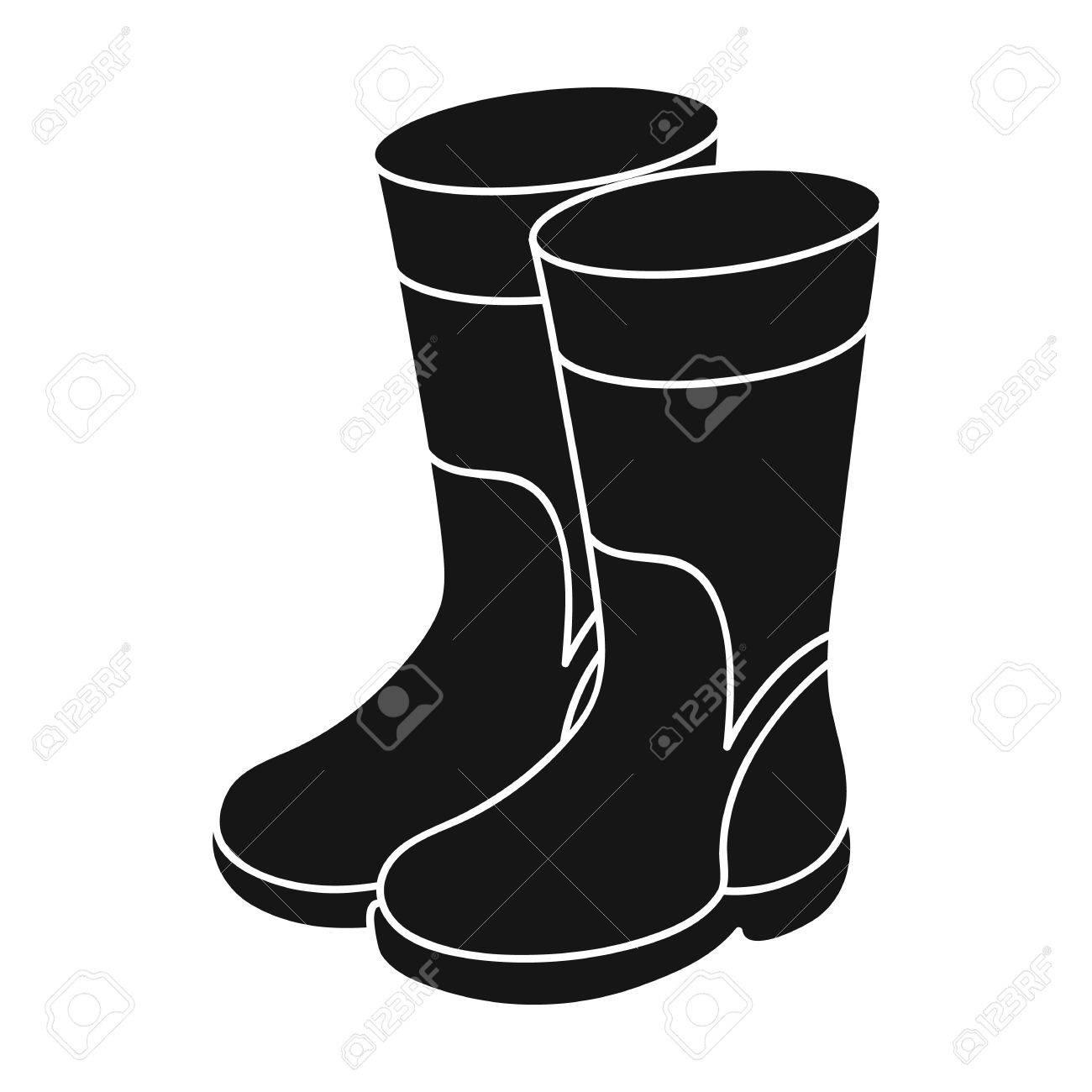 Botas de goma icono de estilo negro sobre fondo blanco. Símbolo de la pesca ilustración stock de vectores.