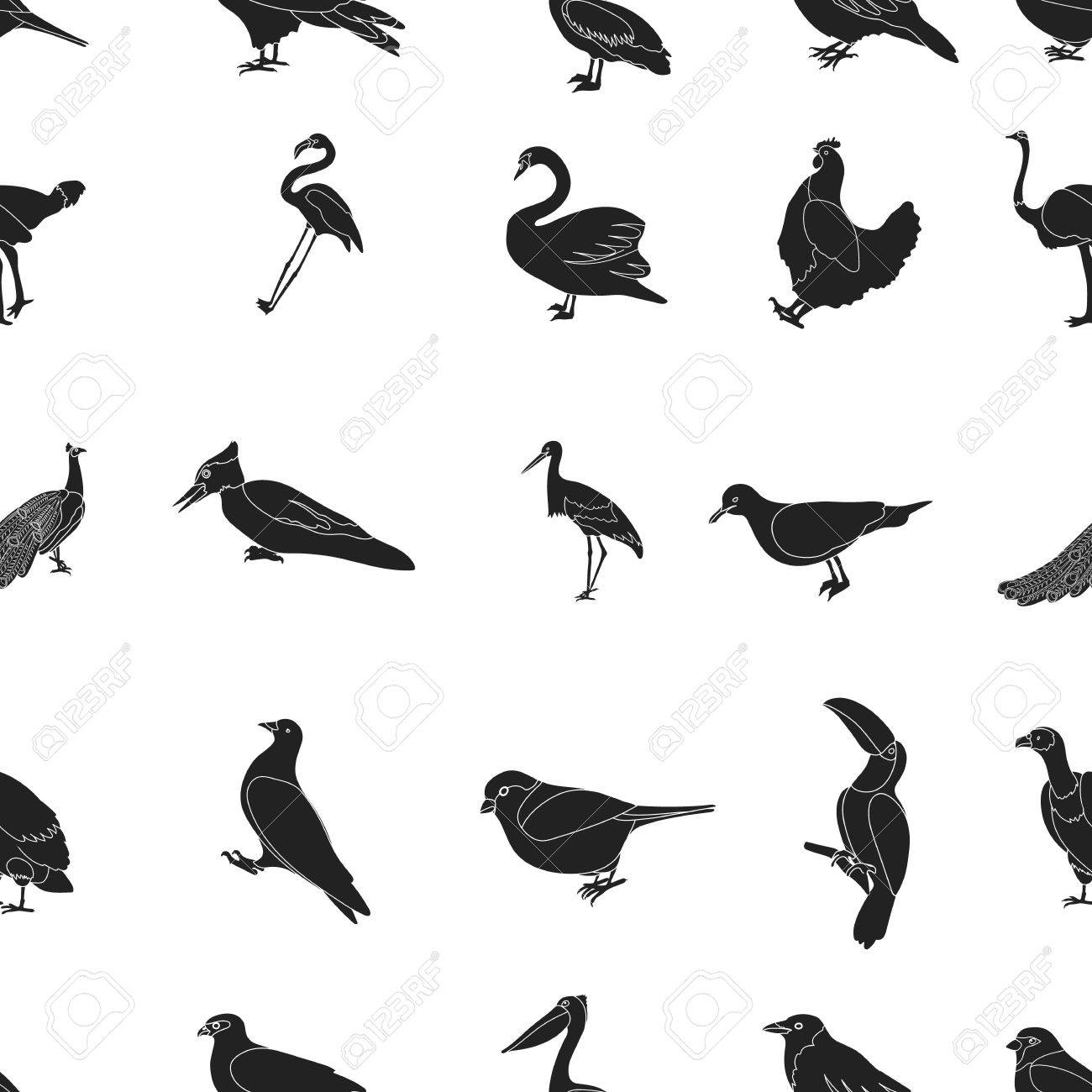 bird pattern icons in black style big collection of bird vector
