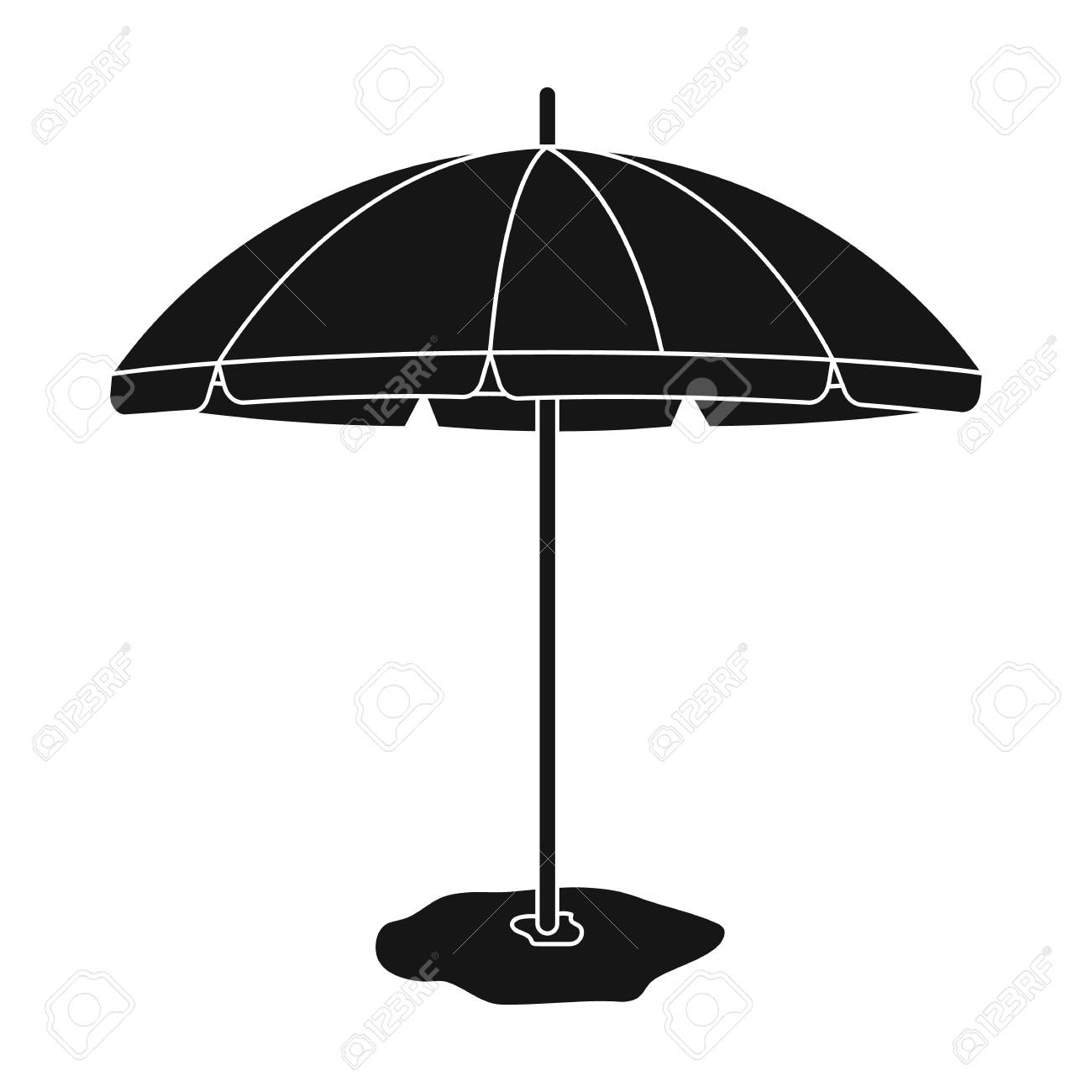 beb00d4fe8 Yelow-green beach umbrella icon in black style isolated on white..