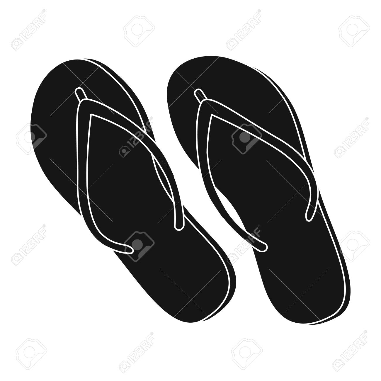 b62c101ca64f Green flip-flops icon in black style isolated on white background. Brazil  country symbol