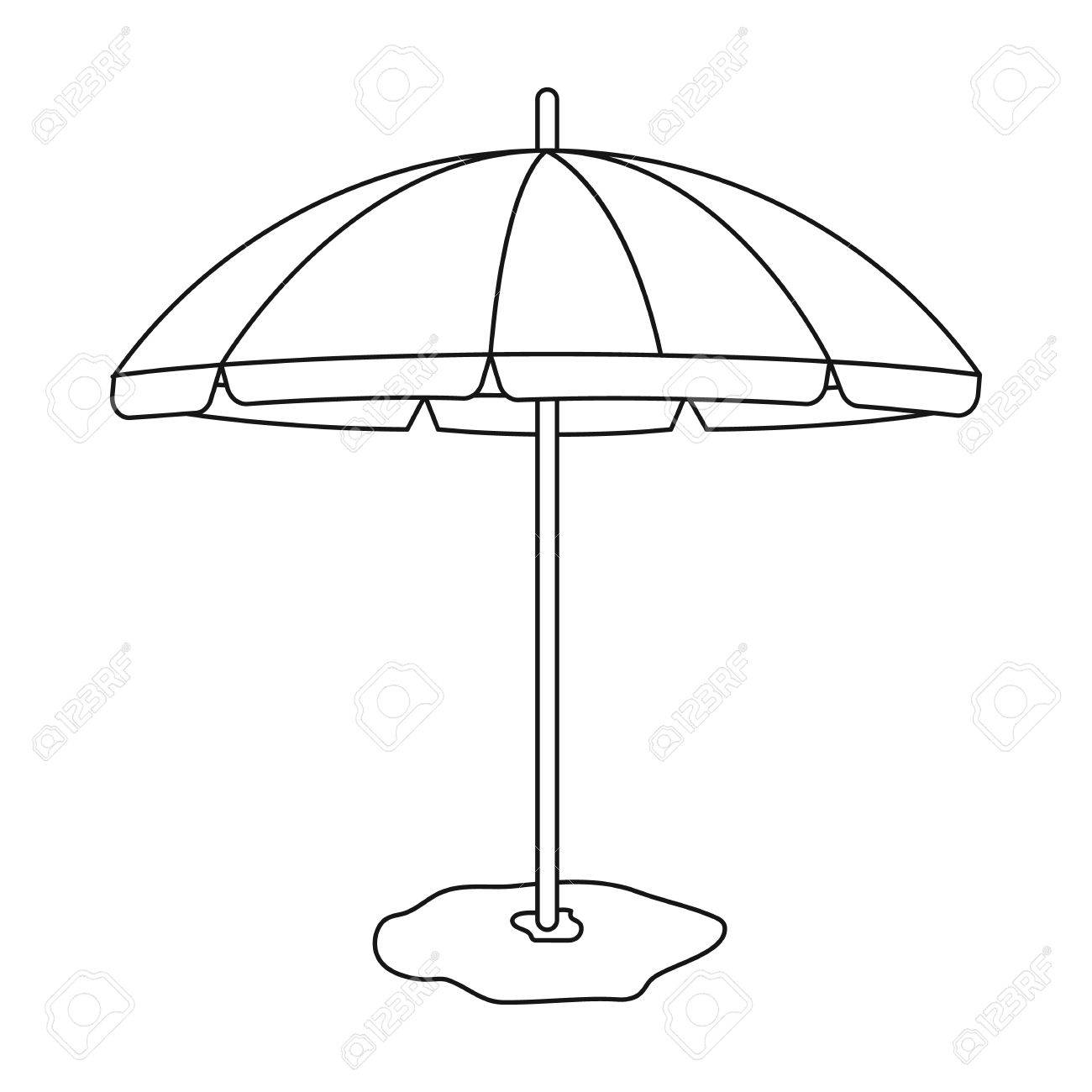 cd73ceb46e Yelow-green beach umbrella icon in outline style isolated on..