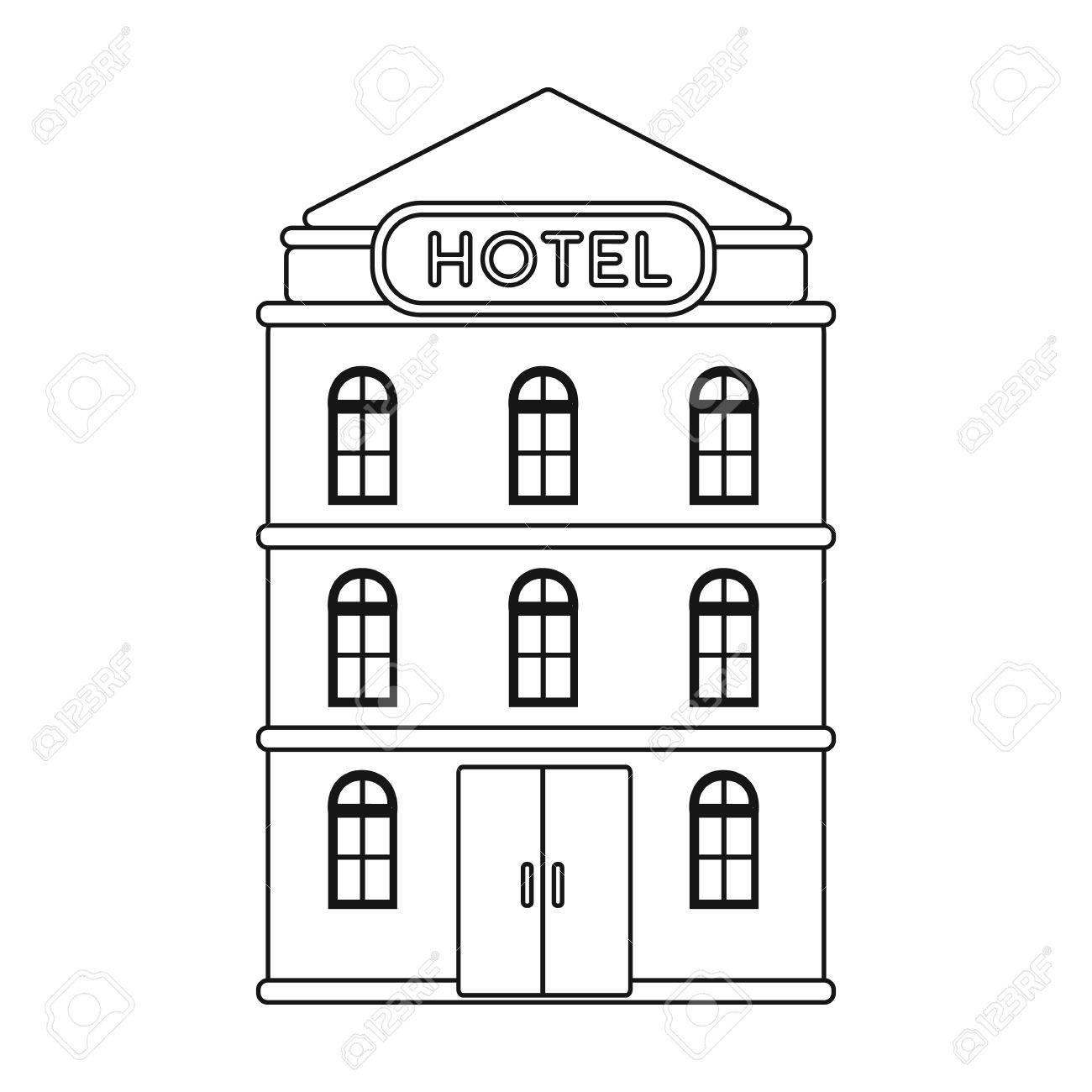 Icono Del Edificio Hotel En El Estilo De Contorno Aislado Sobre