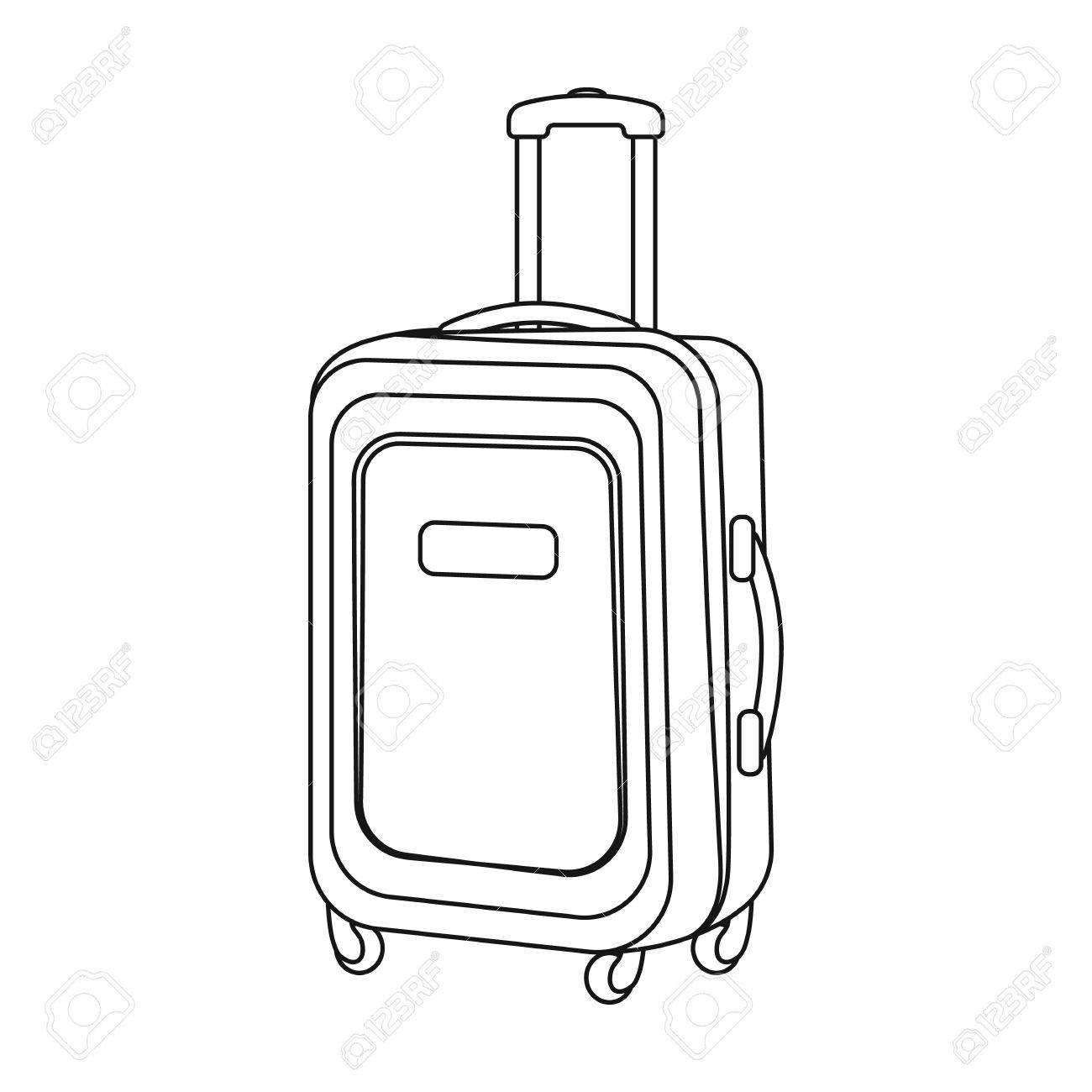 Travel Luggage Icon In Outline Style Isolated On White Background Rest And Symbol Stock
