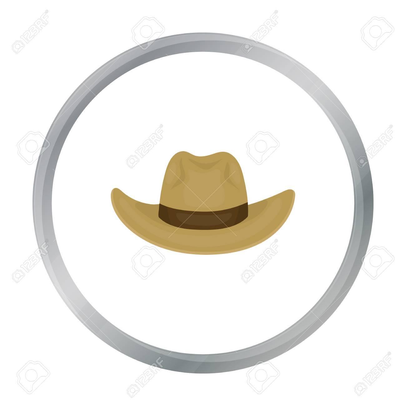 Foto de archivo - Icono de sombrero de vaquero en estilo de dibujos  animados aislado sobre fondo blanco. Sombreros símbolo stock vector  ilustración. a268d2fb1ac