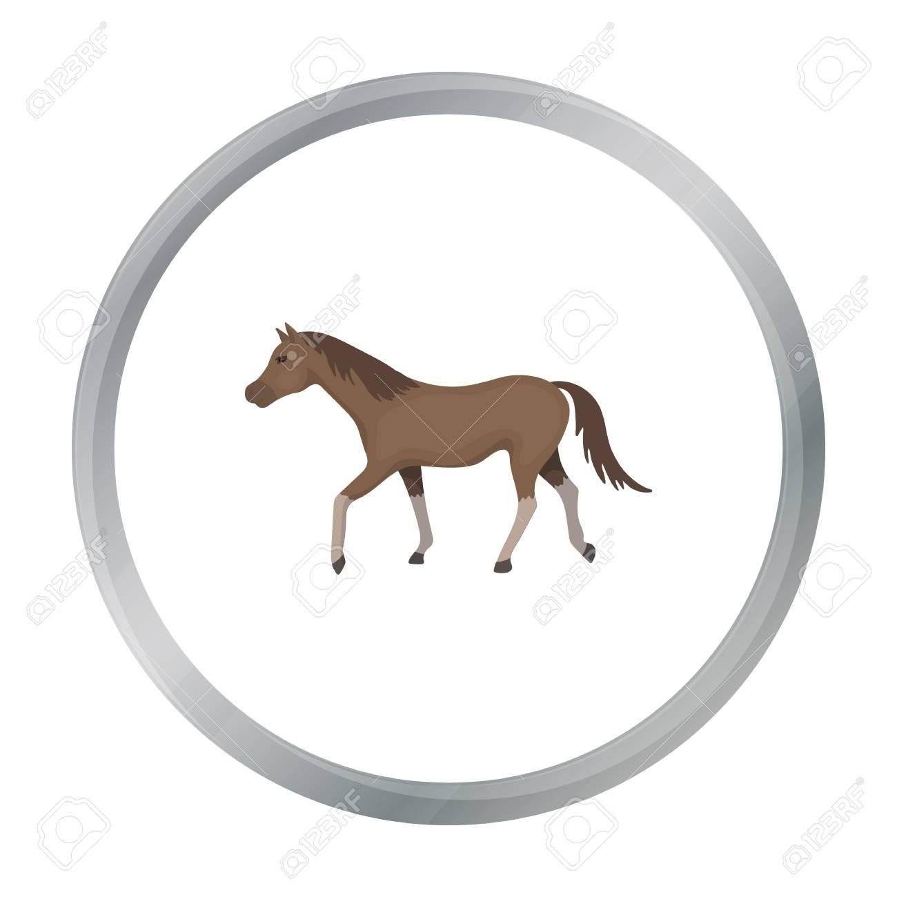 Pferd Symbol In Cartoon-Stil Auf Weißem Hintergrund. Hippodrom Und ...